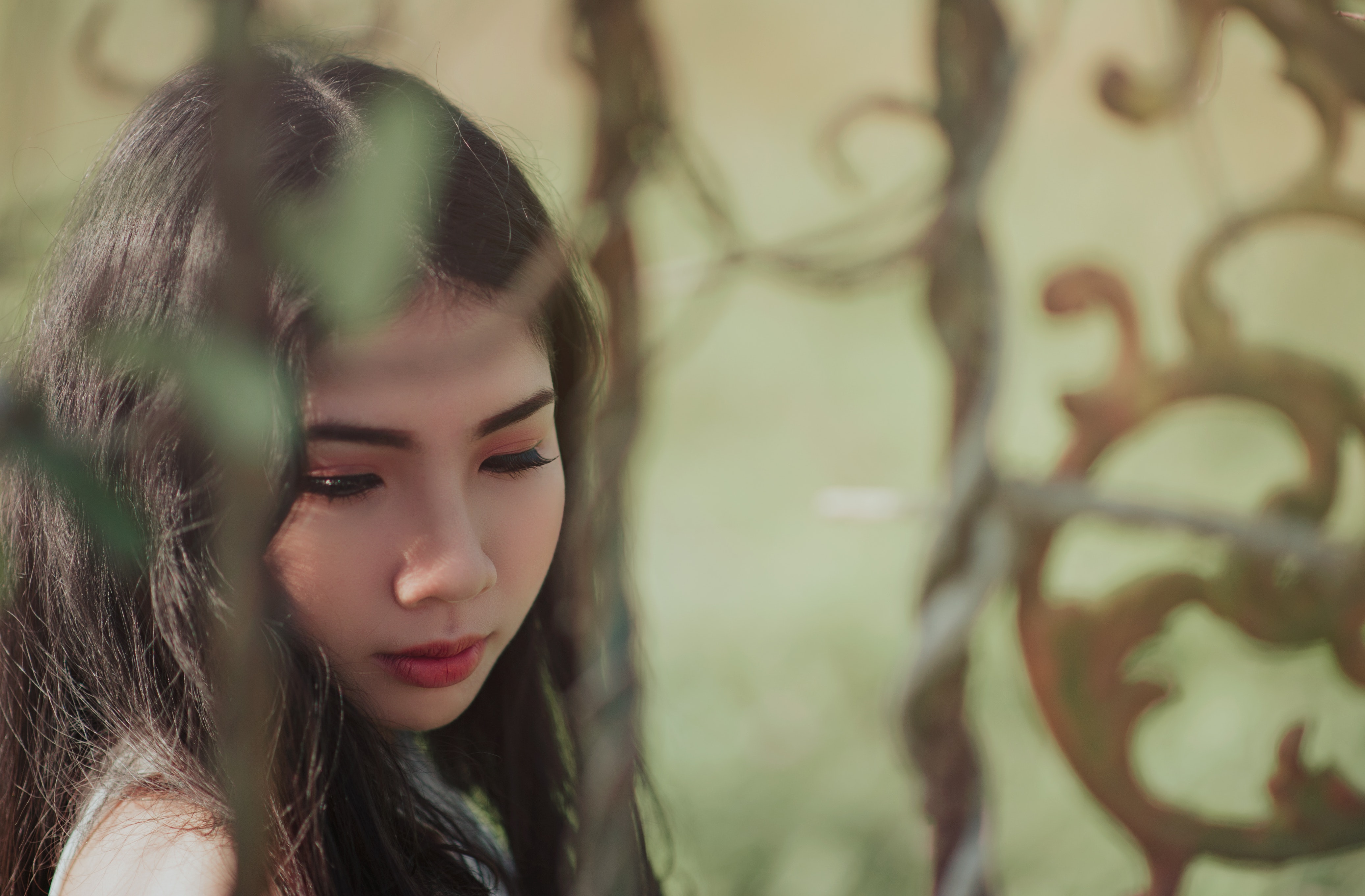 Woman's Black Hair, Beautiful, Blur, Face, Girl, HQ Photo