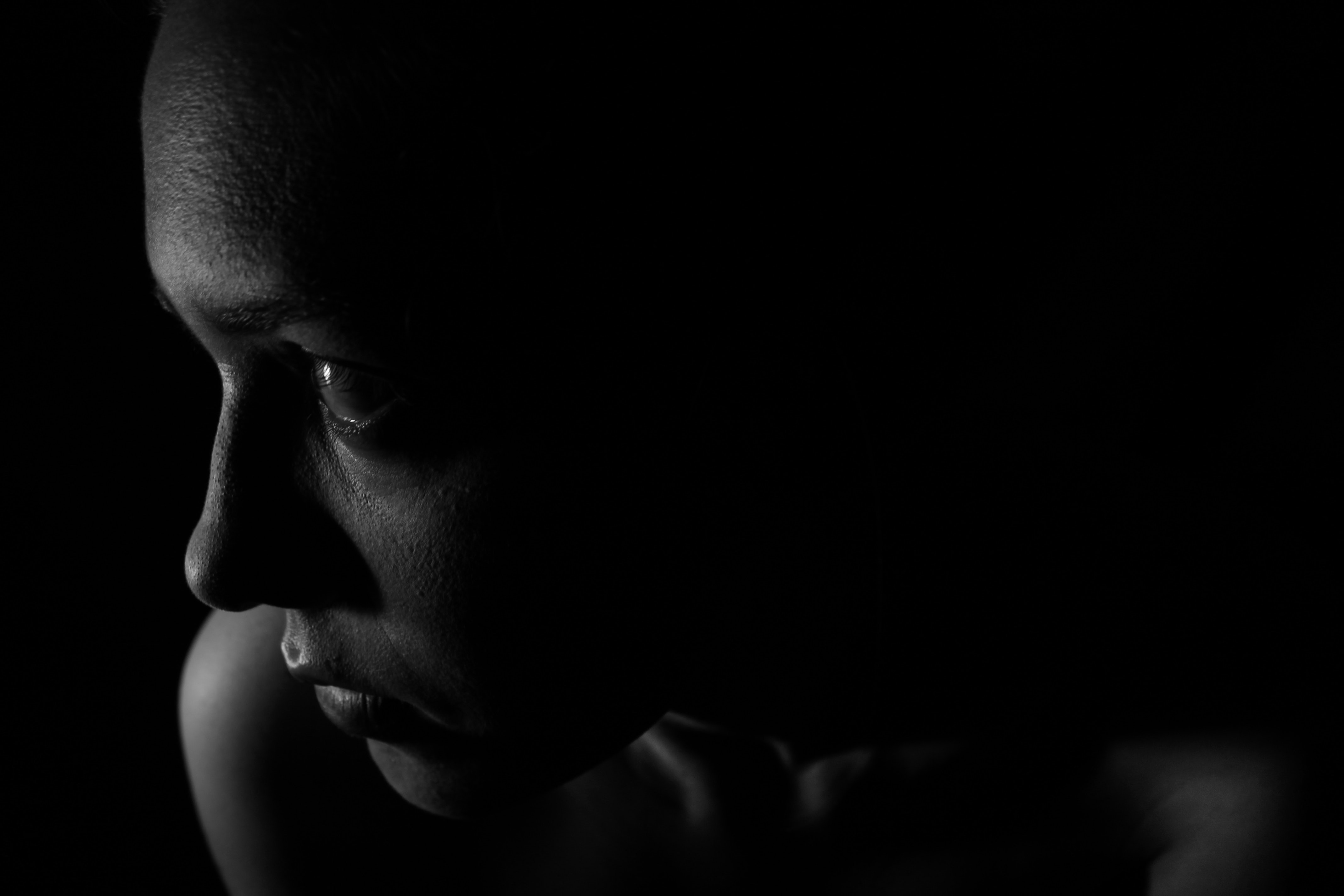 Woman's Face, Black-and-white, Dark, Face, Girl, HQ Photo