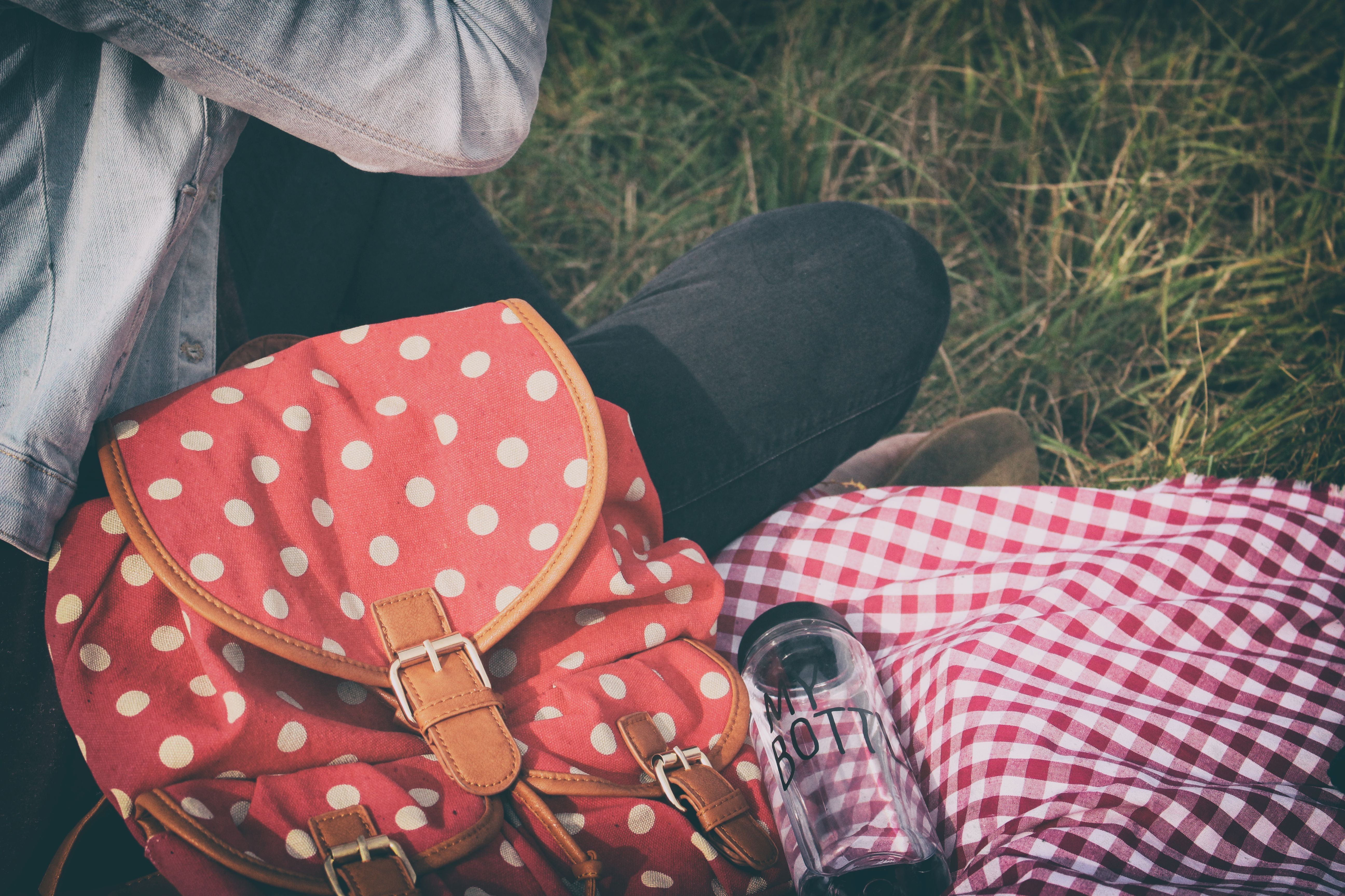 Woman's Red With Polka Dot Print Backpack, Jeans, Wear, Water, Travel, HQ Photo