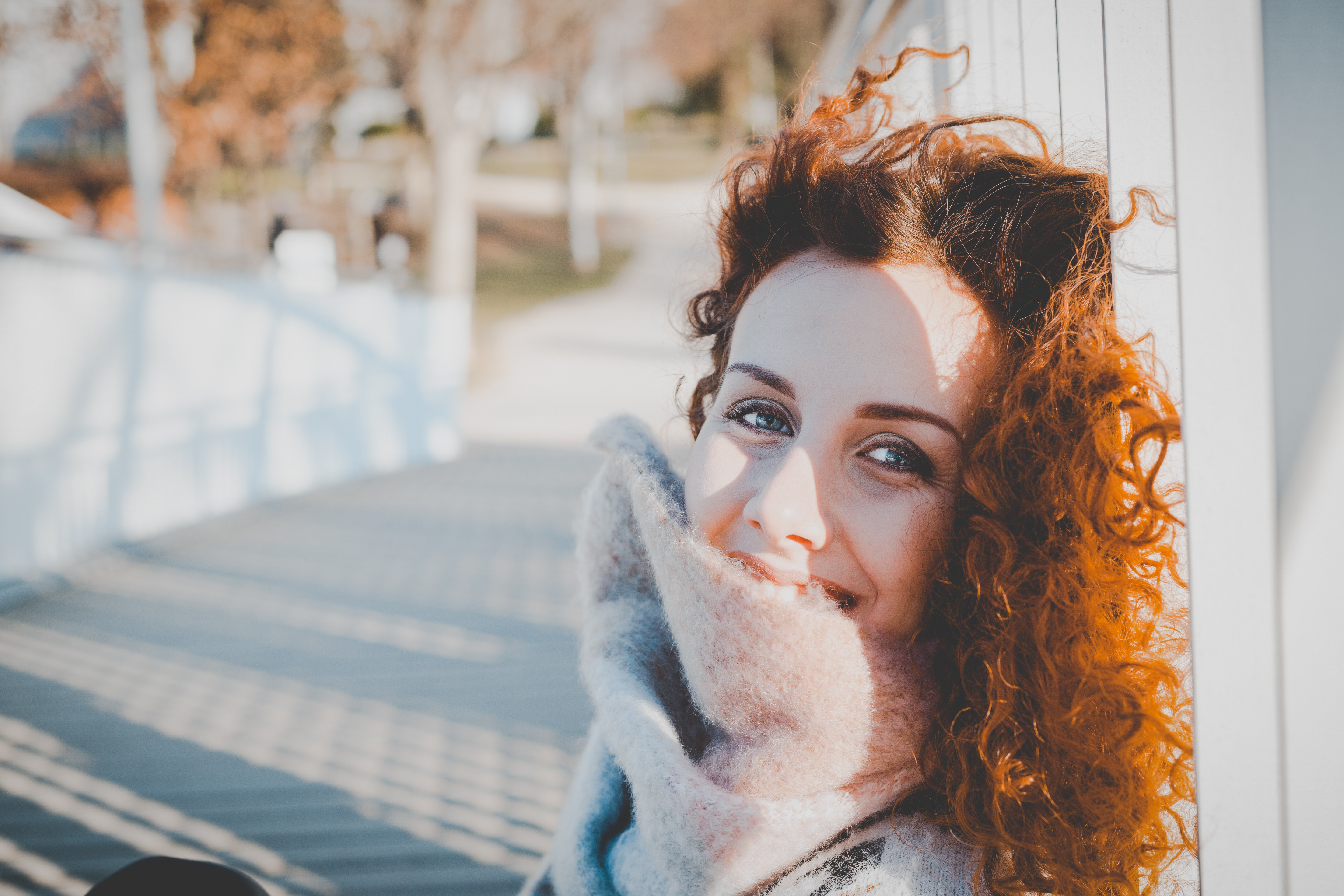 Women Leaning on White Wooden Fence Wearing Gray Furred Top, Person, Young, Woman, Winter, HQ Photo