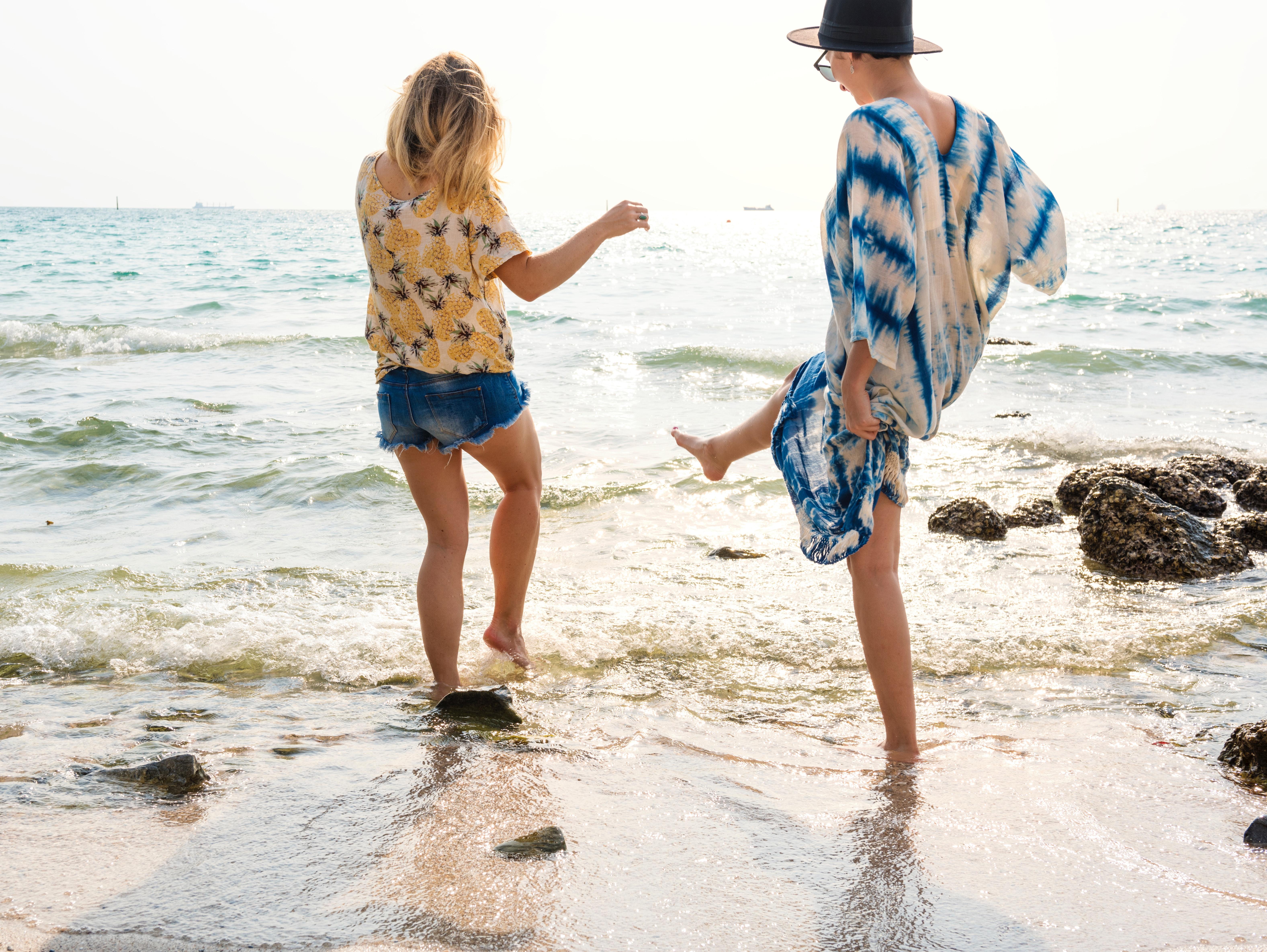 Women on seashore photo