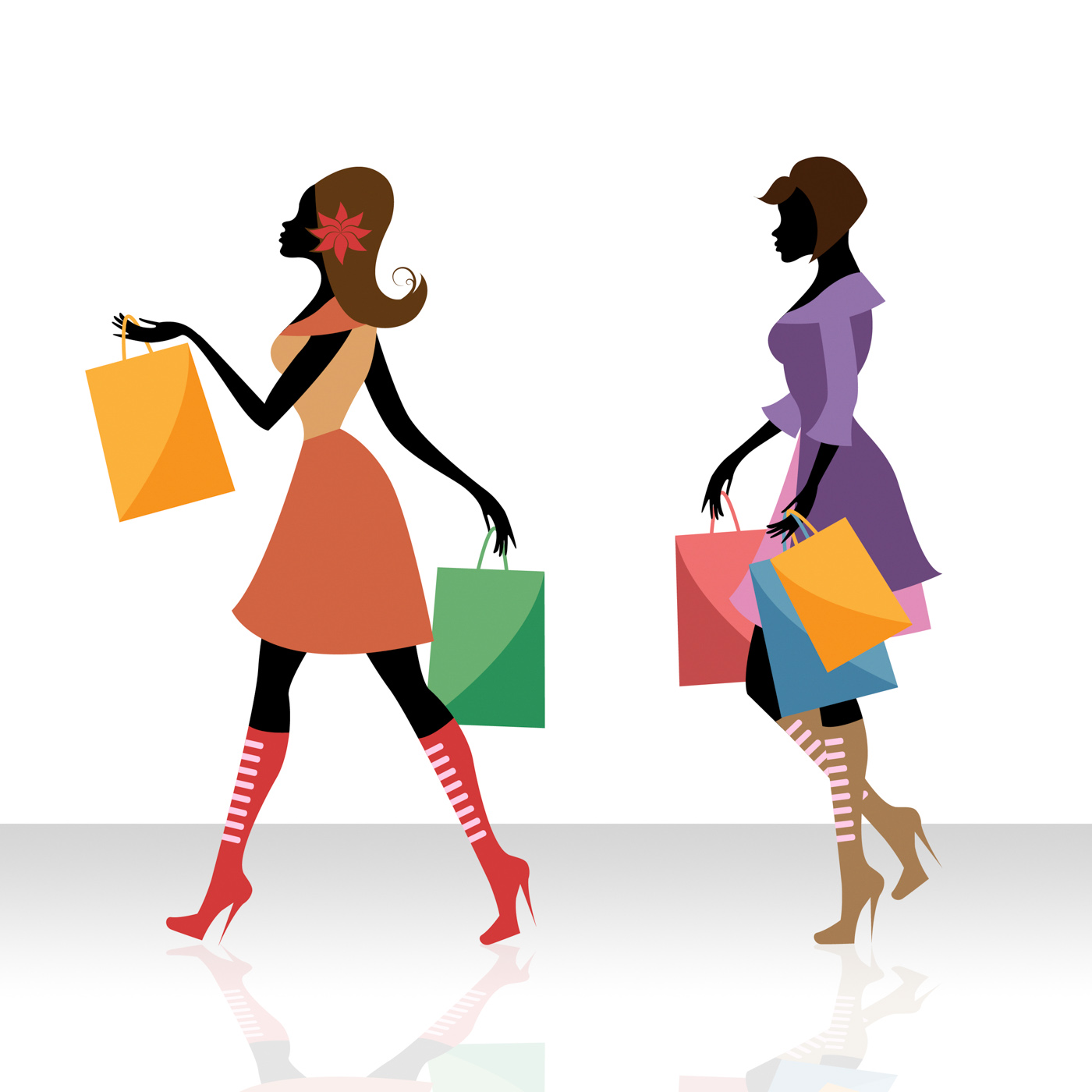 Women shopping indicates retail sales and adult photo