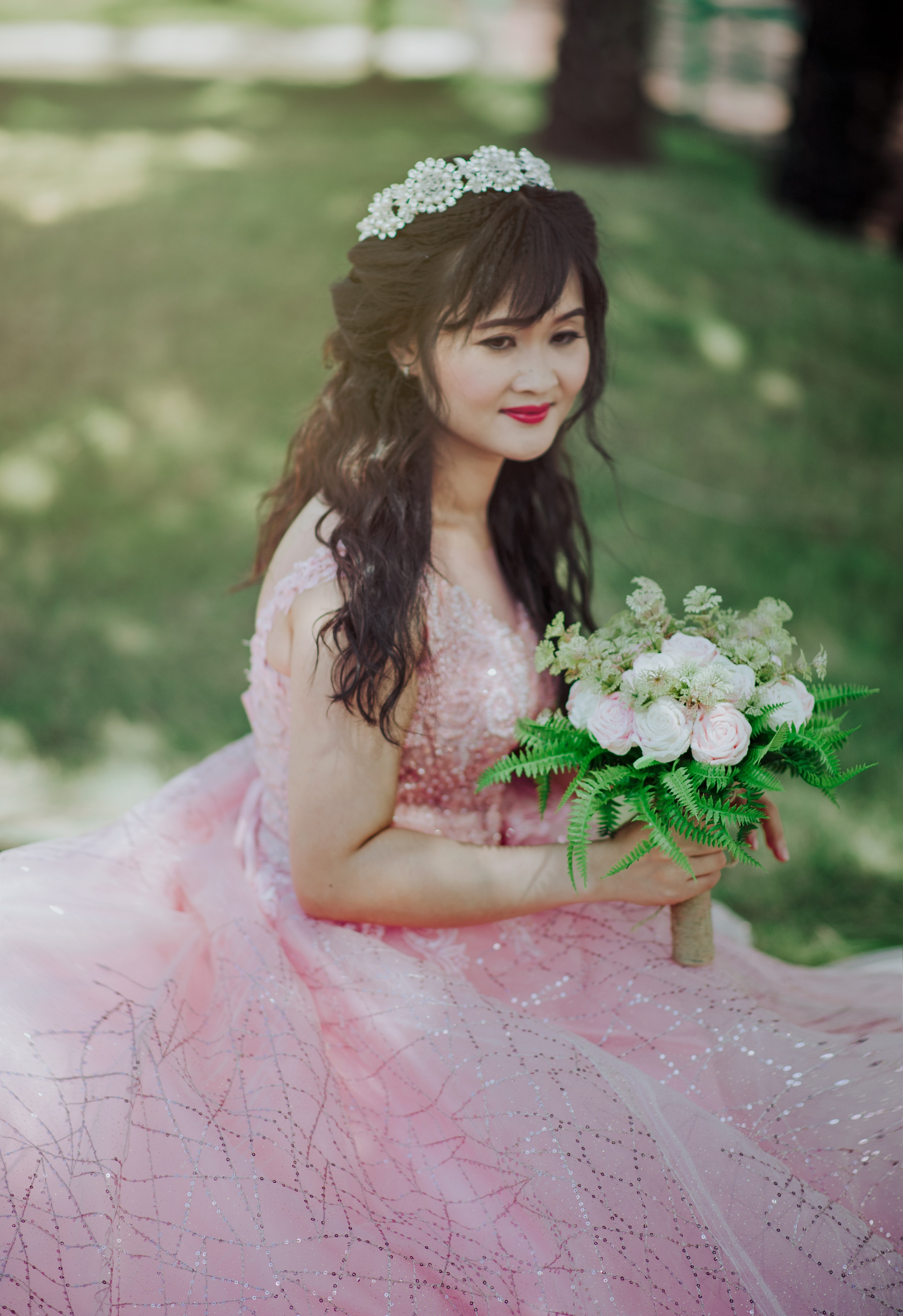 Women's Pink Gown, Red lips, Pose, Person, Wear, HQ Photo