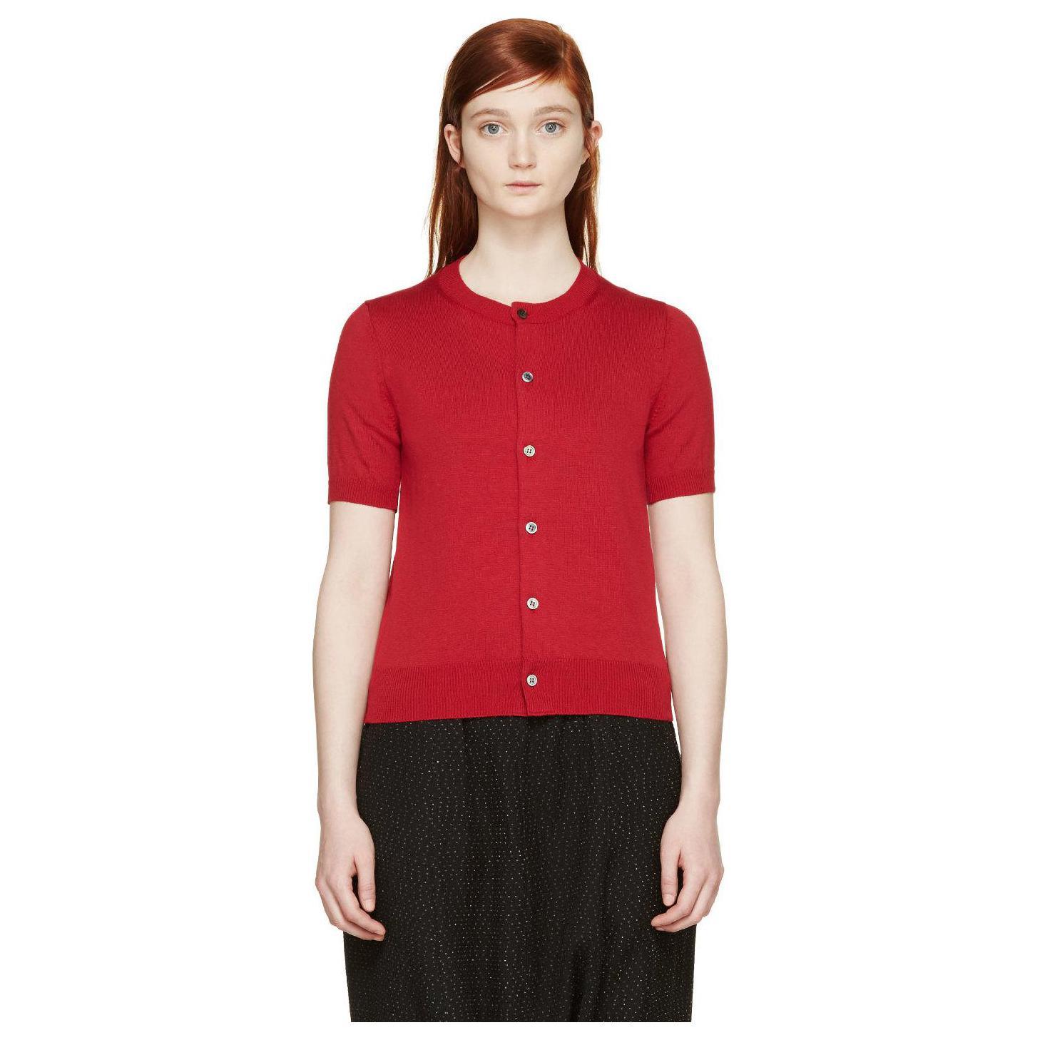 Comme des Garçons Women's Red Wool Knit Short Sleeve Cardigan ...