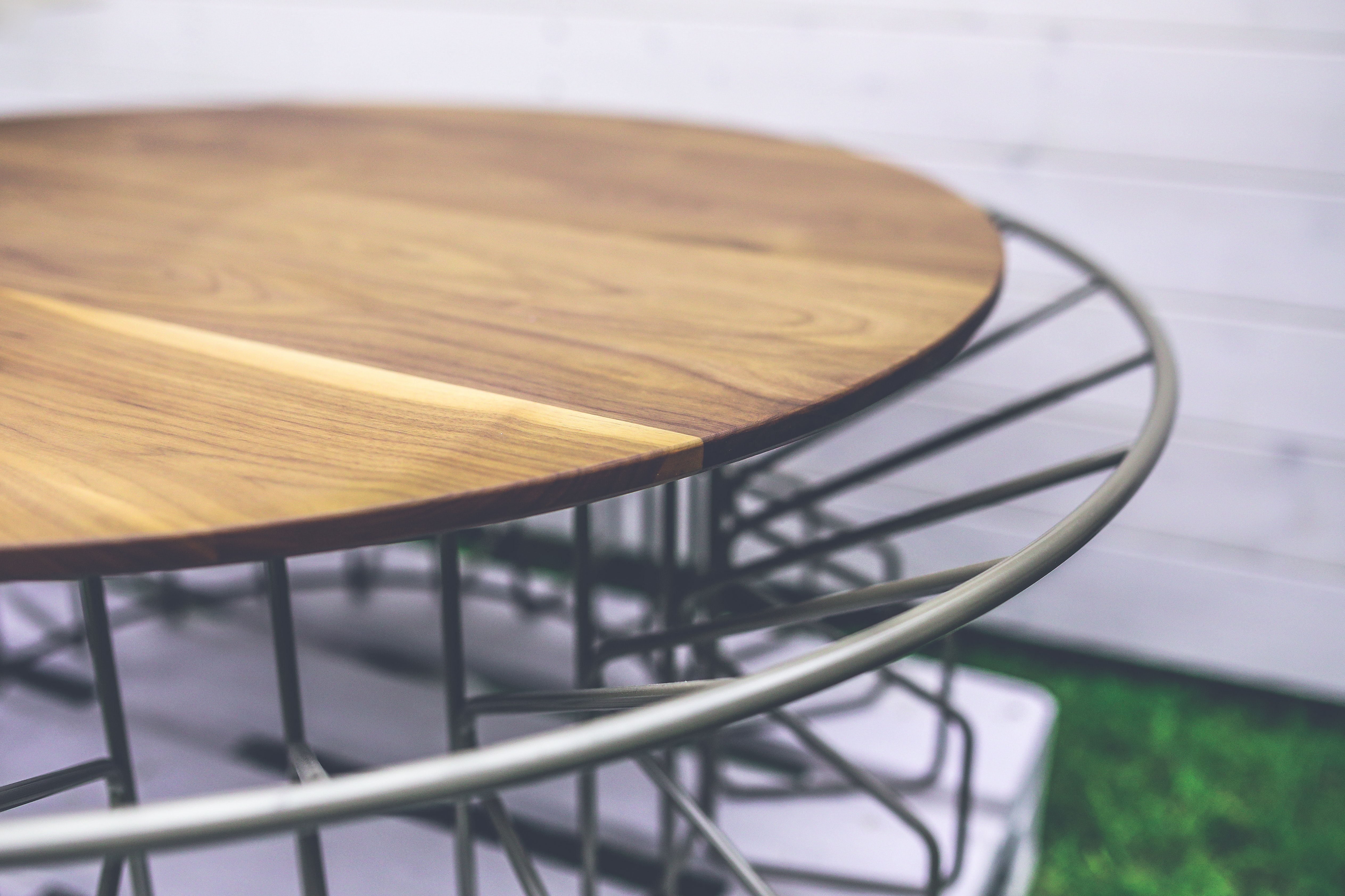 Wood and metal table photo
