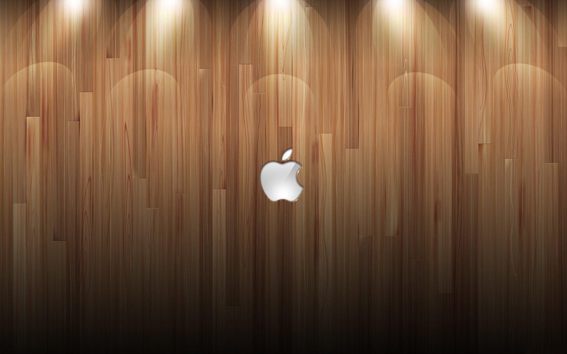 Apple Logo Wood Background Lights Desktop Wallpaper