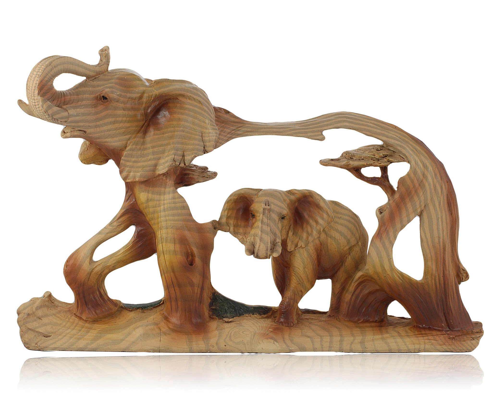 Elephant in Elephant Faux Wood Carving by Unison Gifts | The Black ...