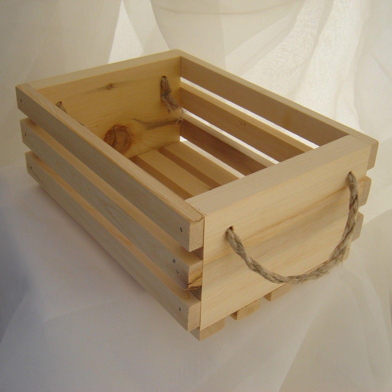 Wooden gift basket with hemp twine handles, yellow cedar wood, great ...