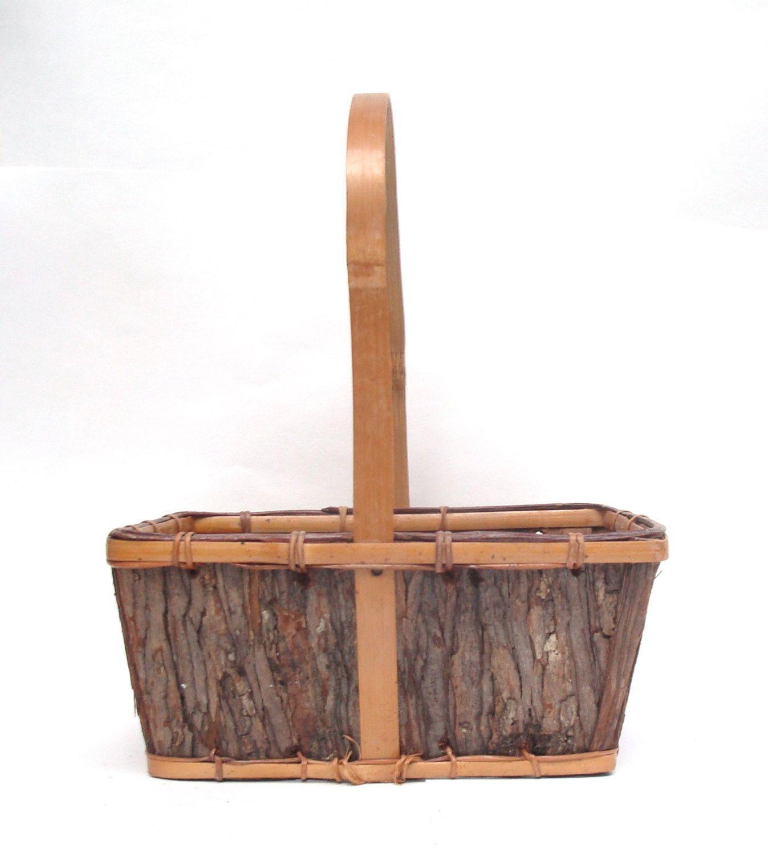 Antique Bark Wood Basket, Bamboo Handle, Wooden Basket Square Basket ...