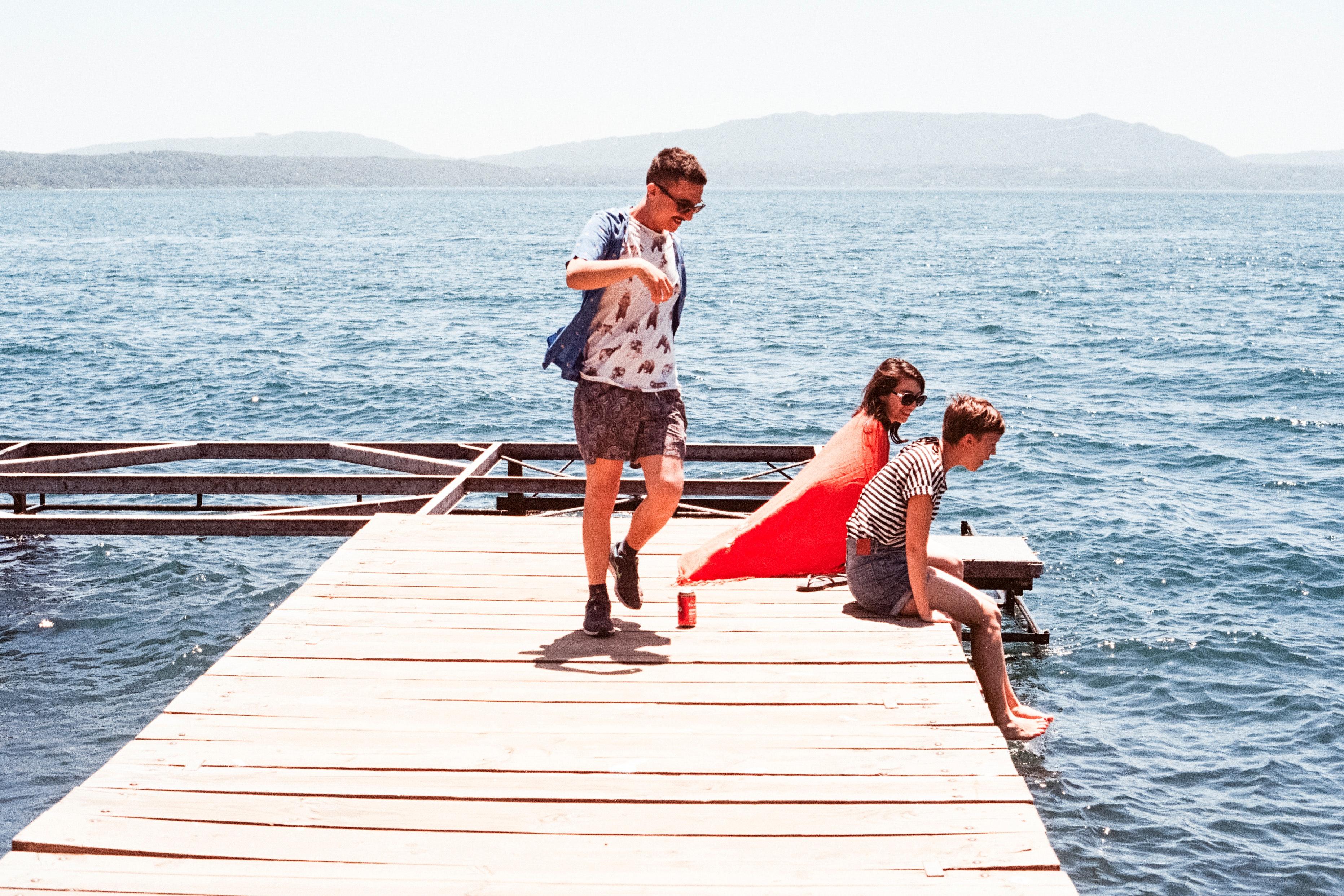 Wooden boarded pier dock photo