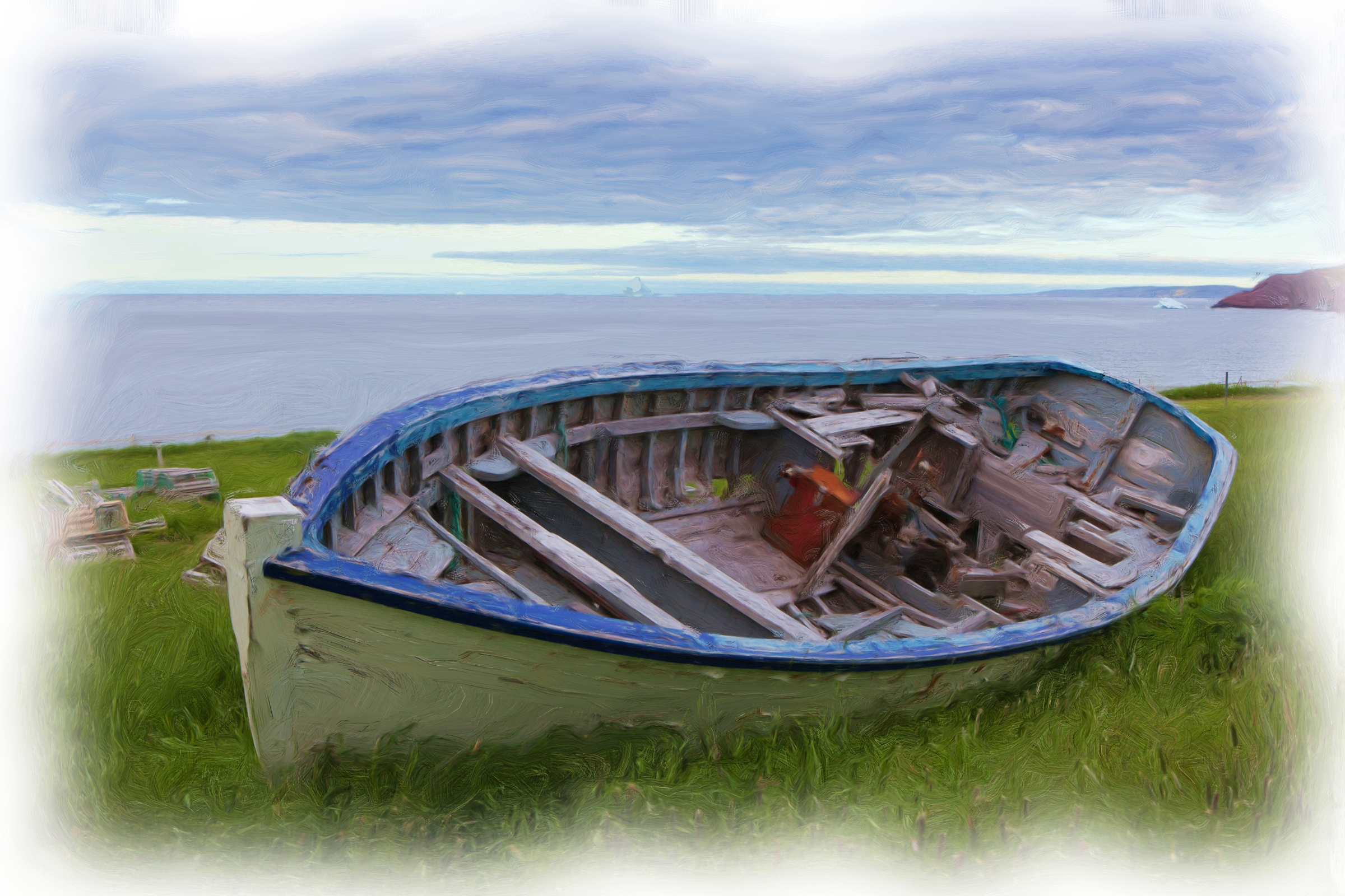 Wooden boat oil painting photo