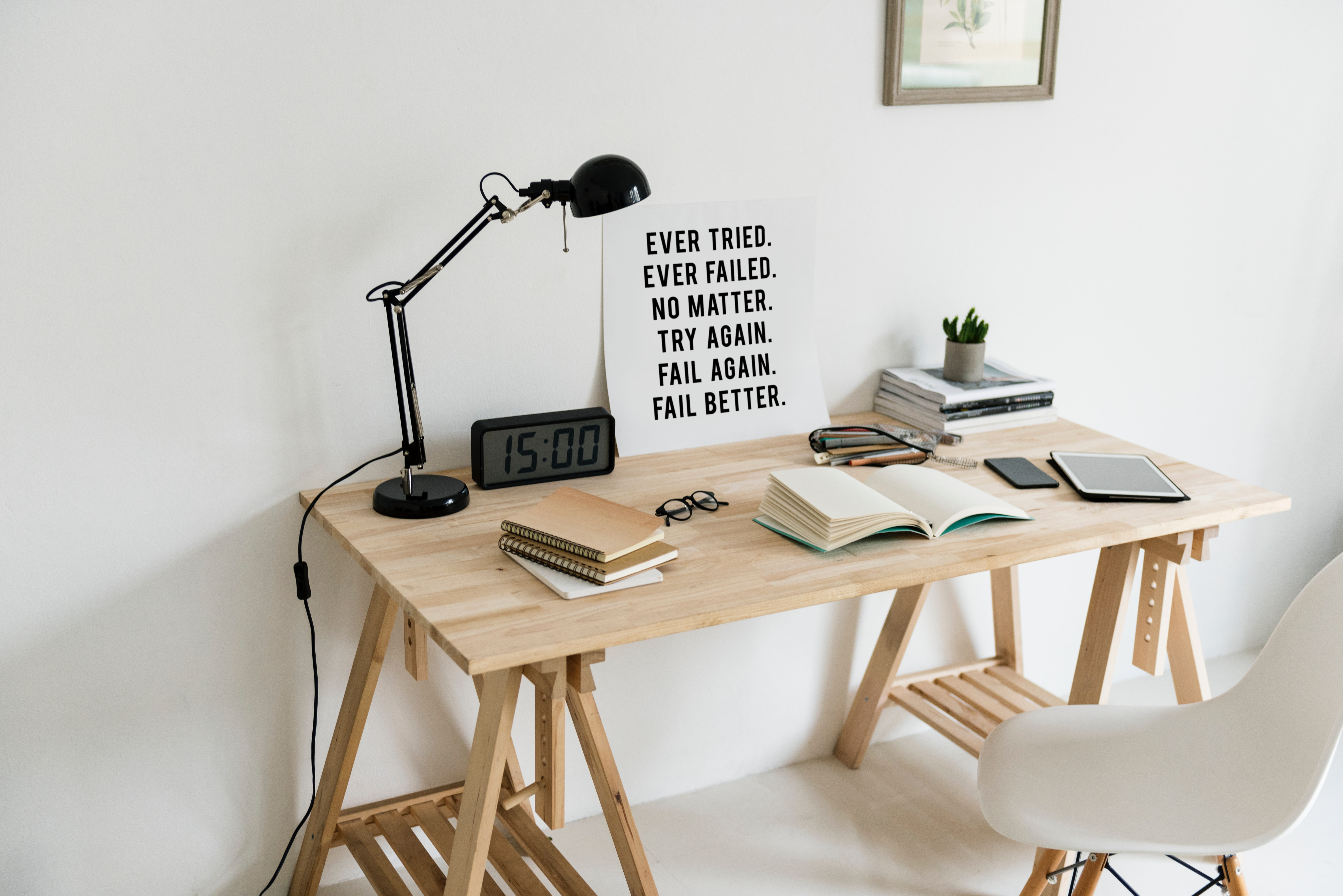 Wooden desk with books on top photo