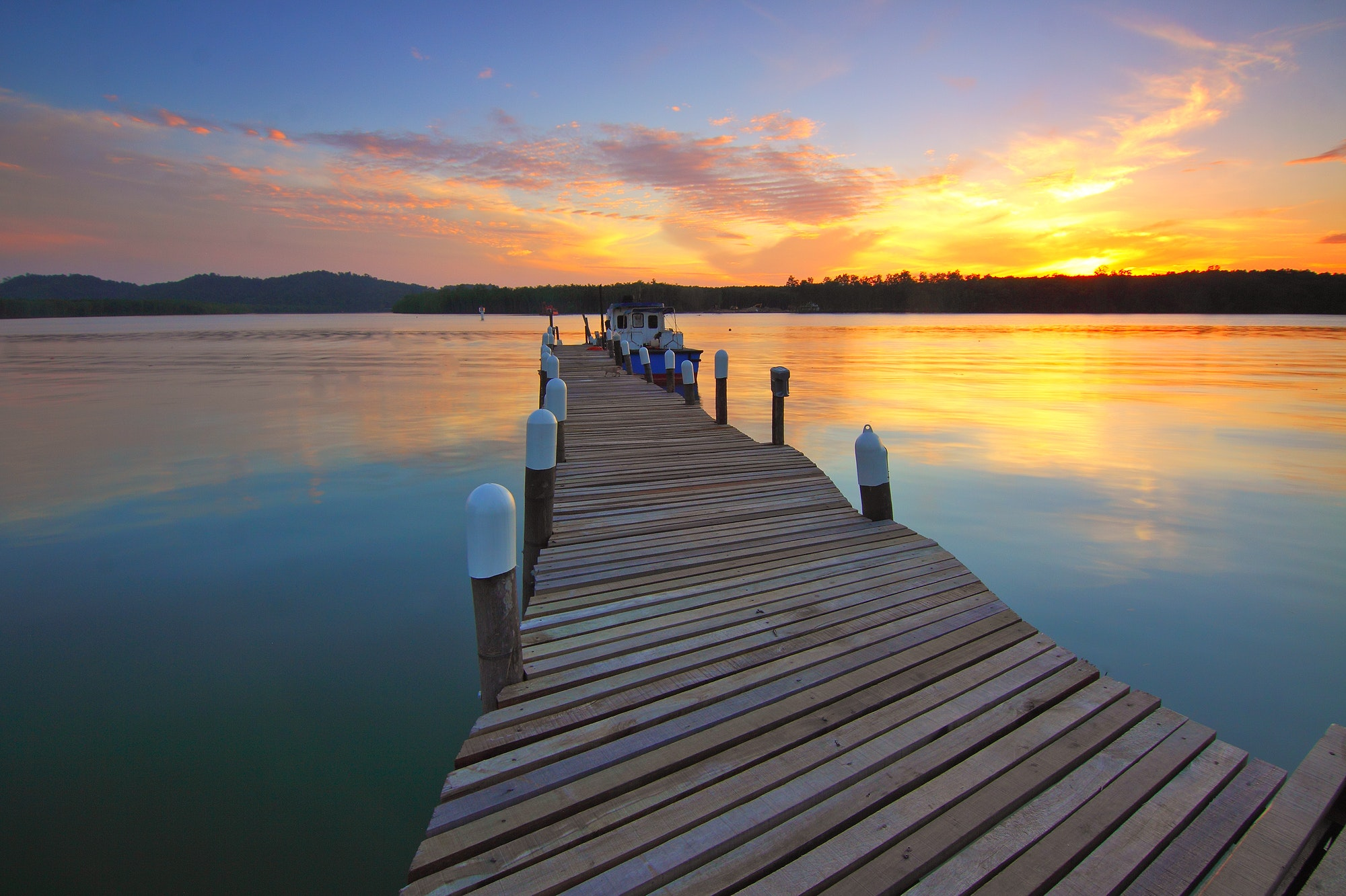 Wooden Dock at Sunset View, Boat, Dawn, Dock, Dusk, HQ Photo