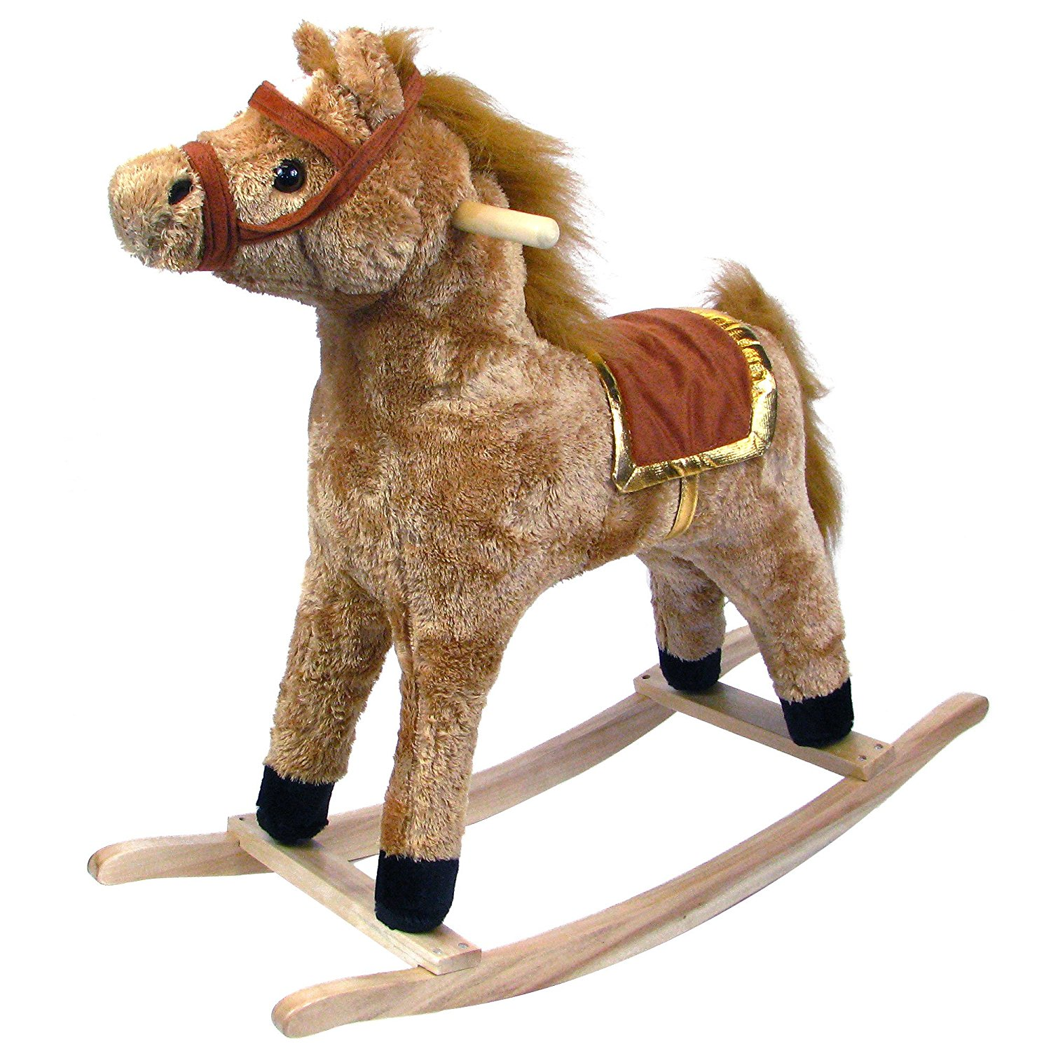 Amazon.com: Happy Trails Horse Plush Rocking Horse - Wooden Rocker ...