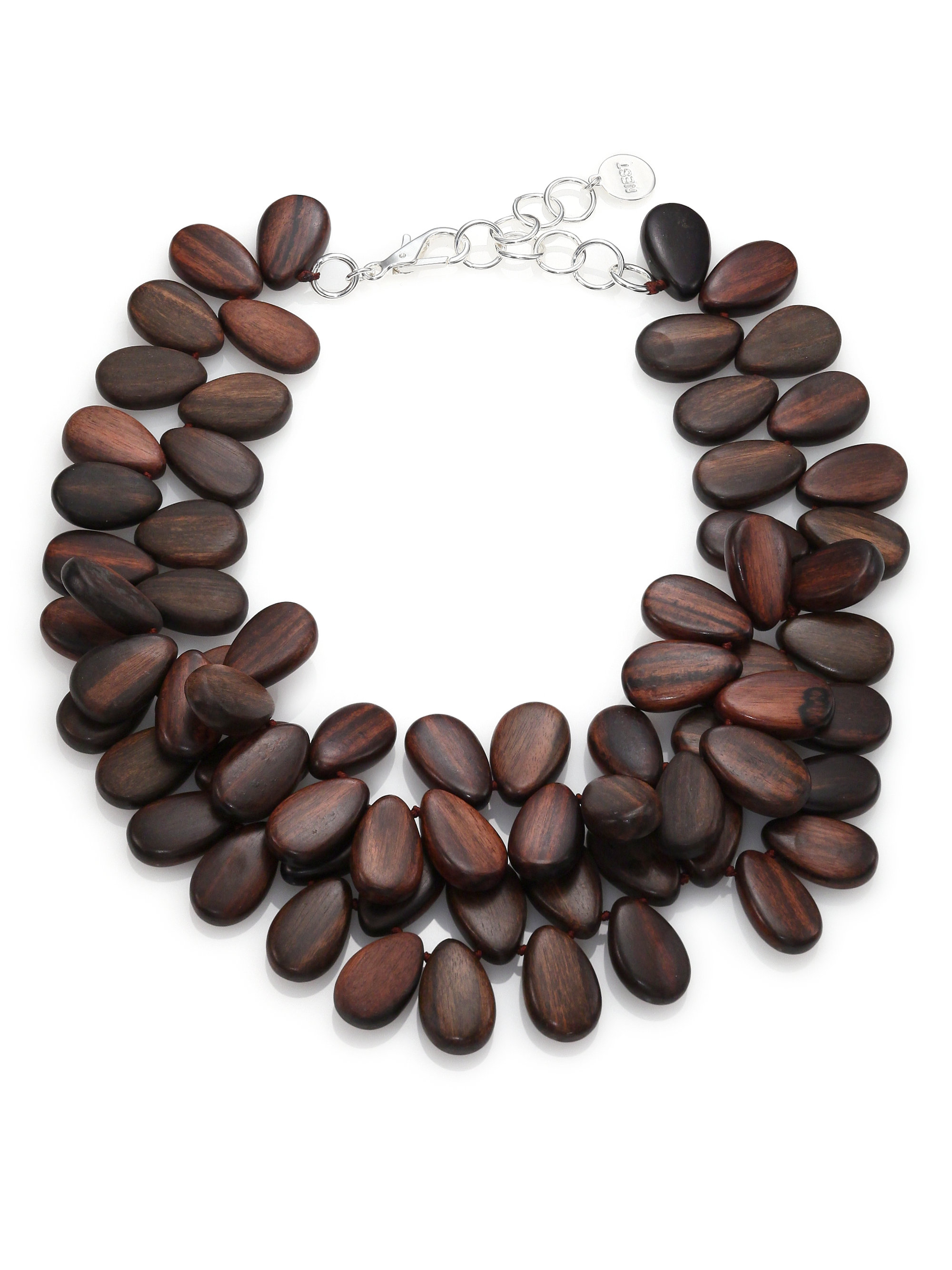 Lyst - Nest Ebony Wood Teardrop Cluster Necklace in Brown