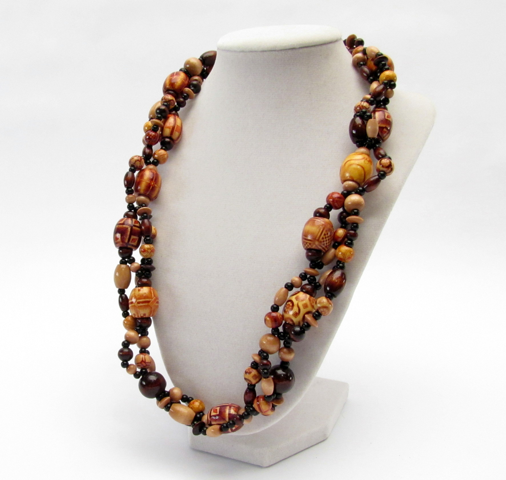 Multi Strand Wood Bead Necklace