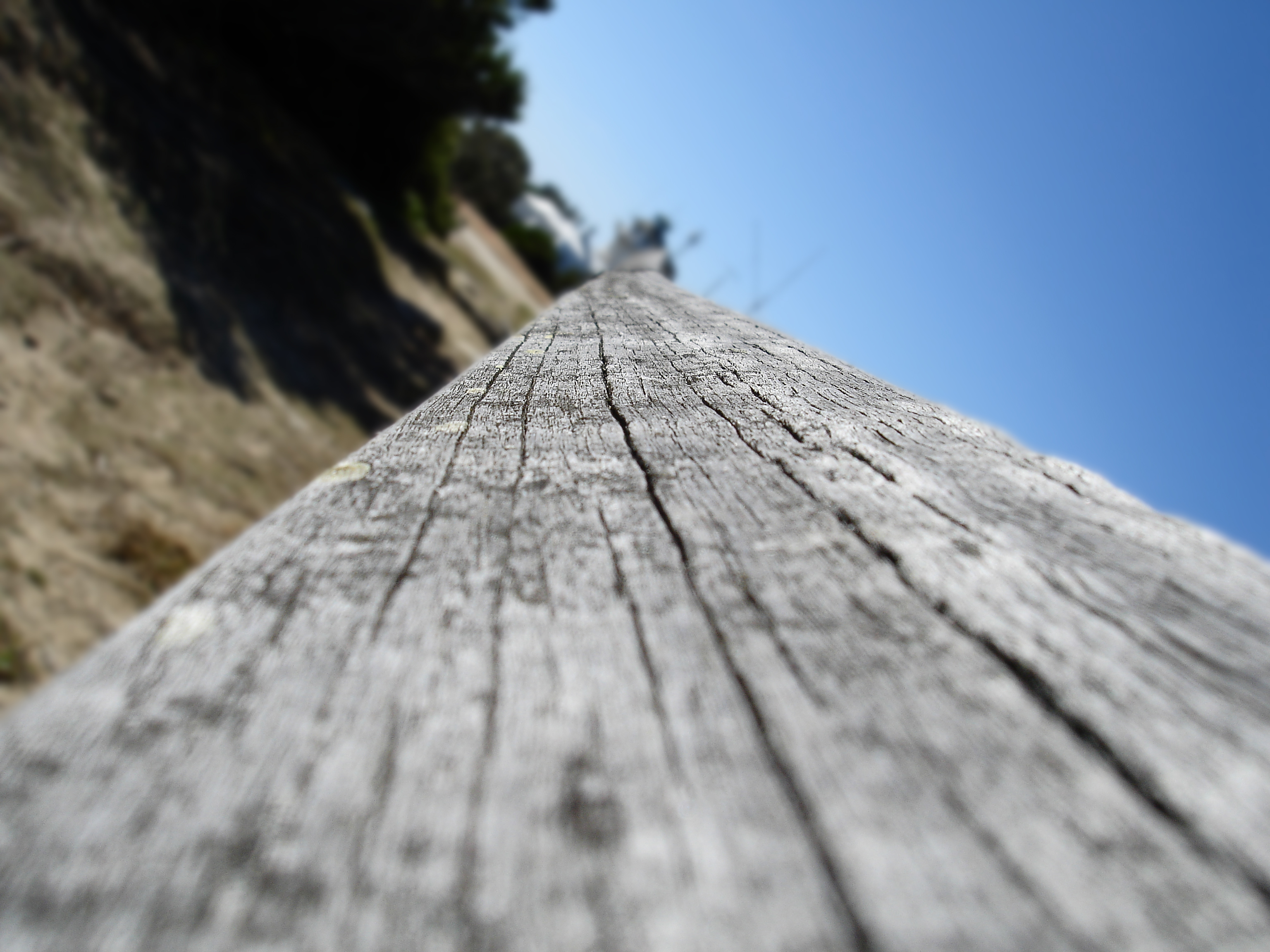 Wooden rail, Angle, Blue, Closeup, Fence, HQ Photo