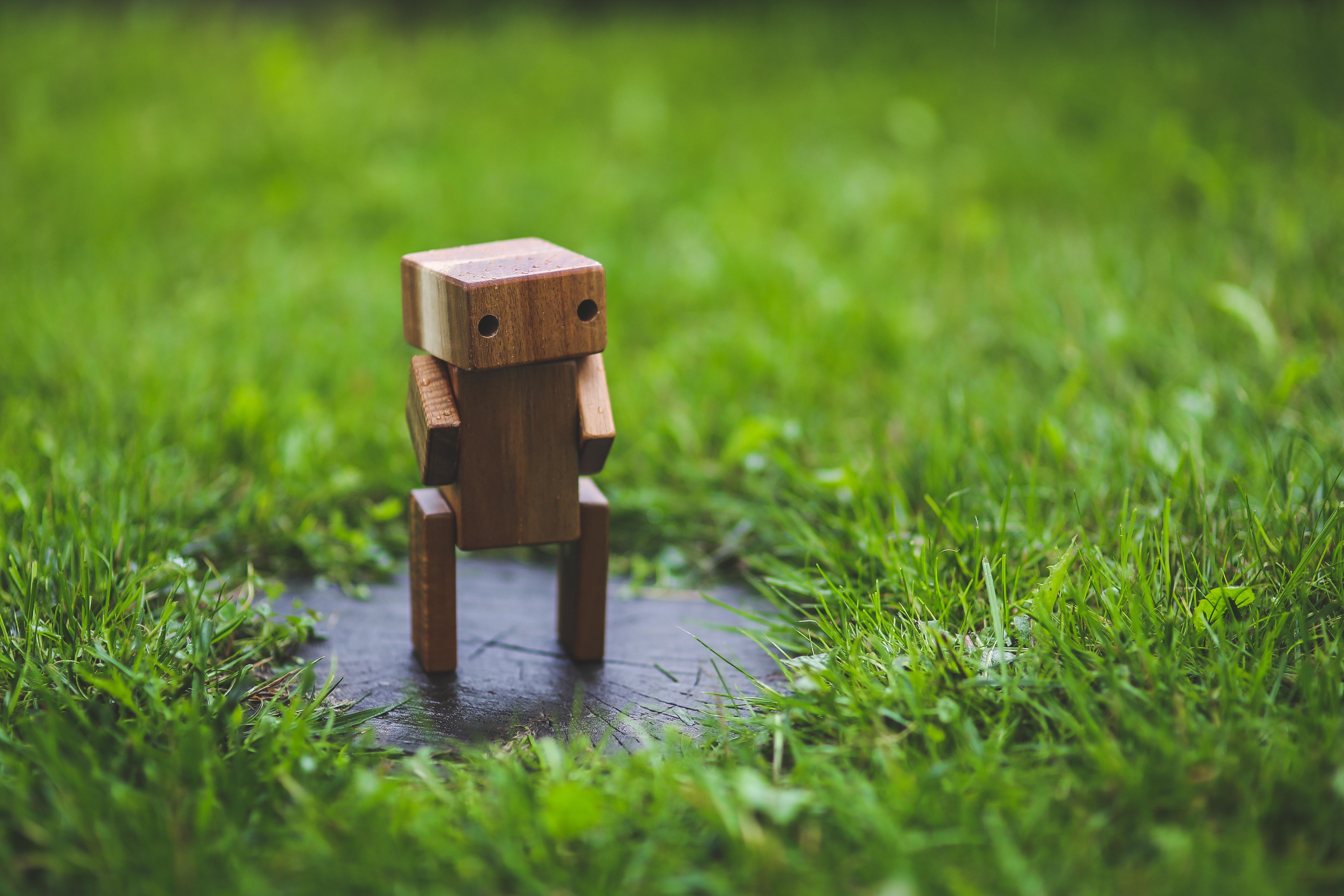 Wooden Robot, Diy, Grass, Green, Handmade, HQ Photo