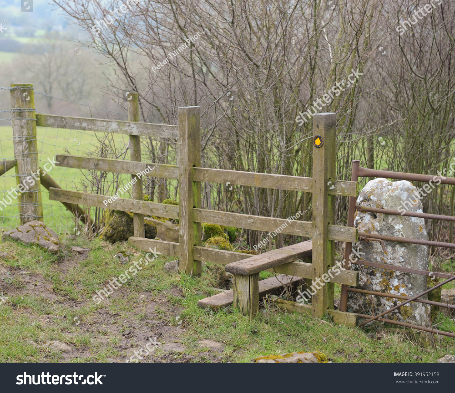 Wooden Stile On Moorland Between Rural Stock Photo (Royalty Free ...