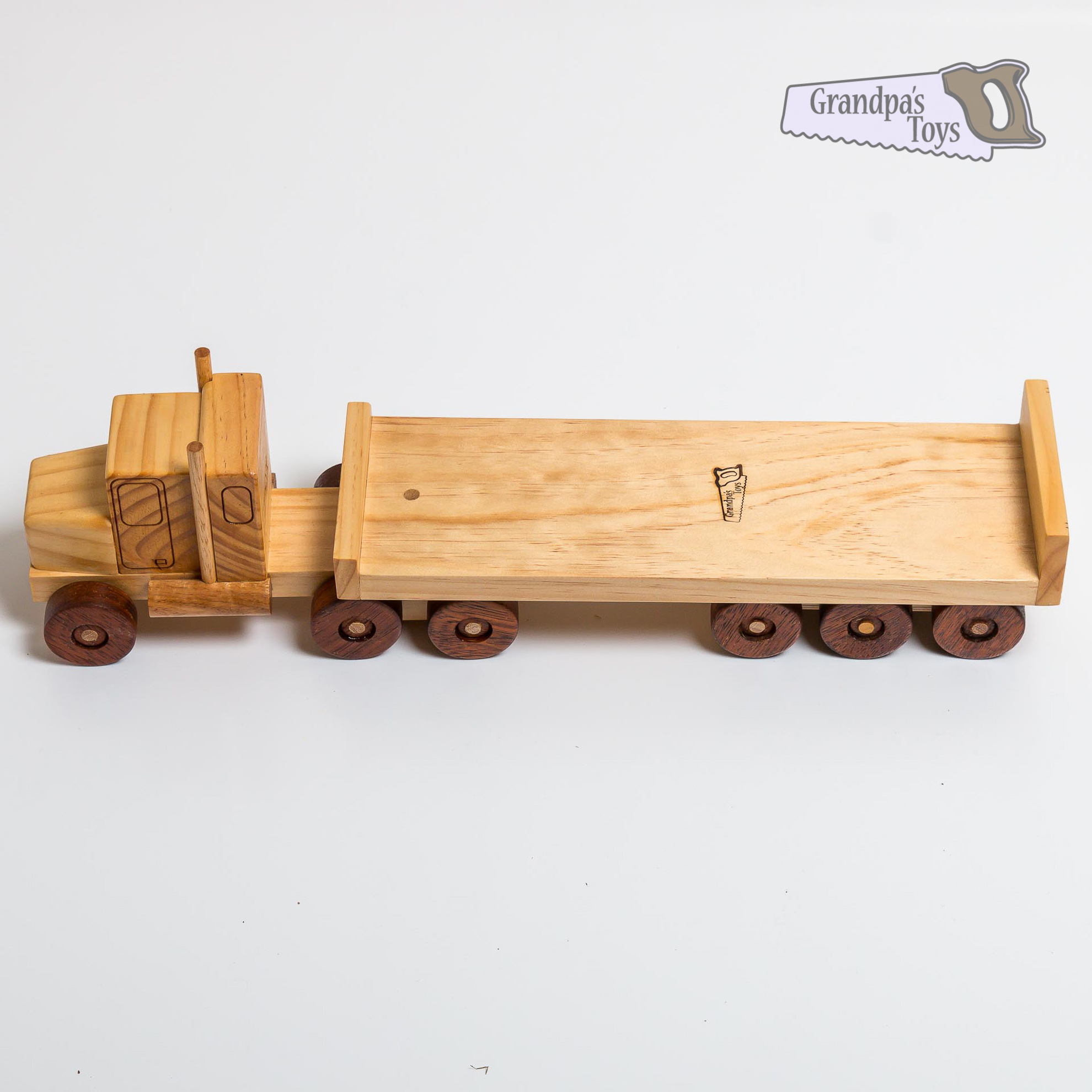 Toy Truck and Flat Trailer - Grandpa's Toys