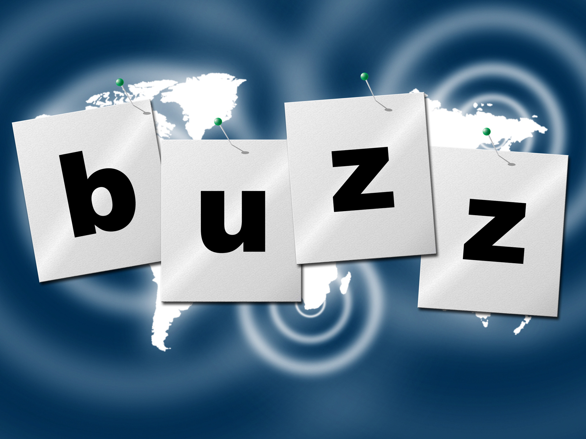 Word buzz indicates public relations and publicity photo