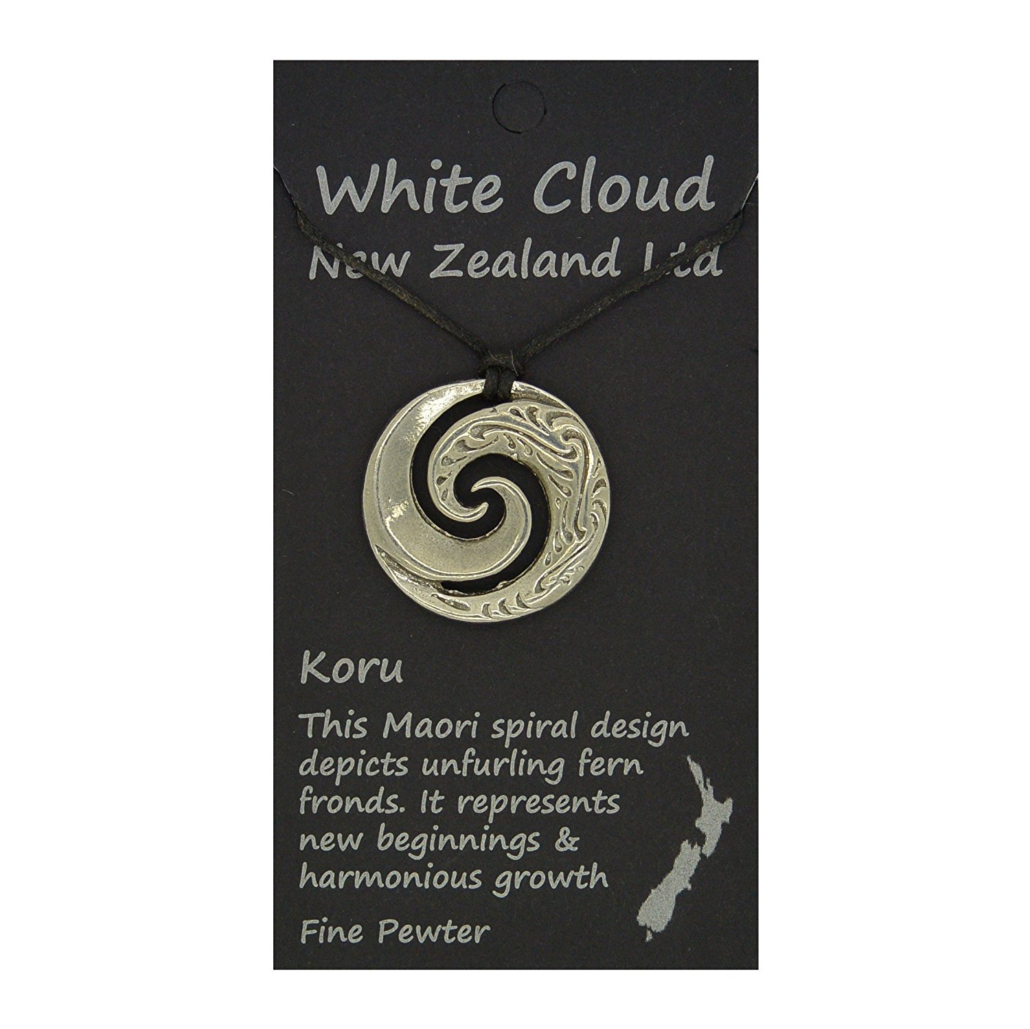 Amazon.com: Handmade New Zealand Koru Wave Pewter Pendant on Waxed ...