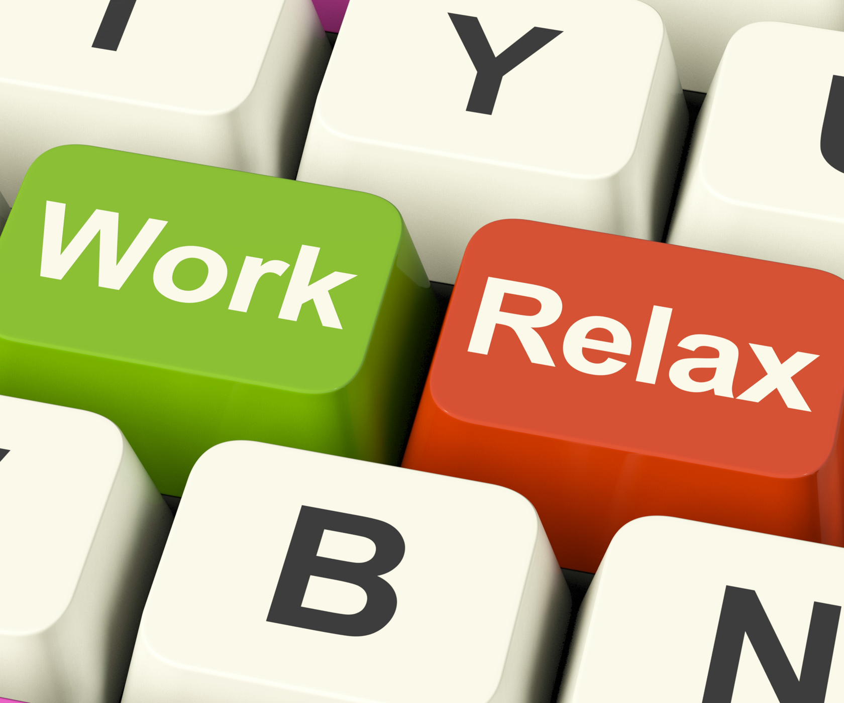 Work relax keys showing decision to take a break or start retirement photo