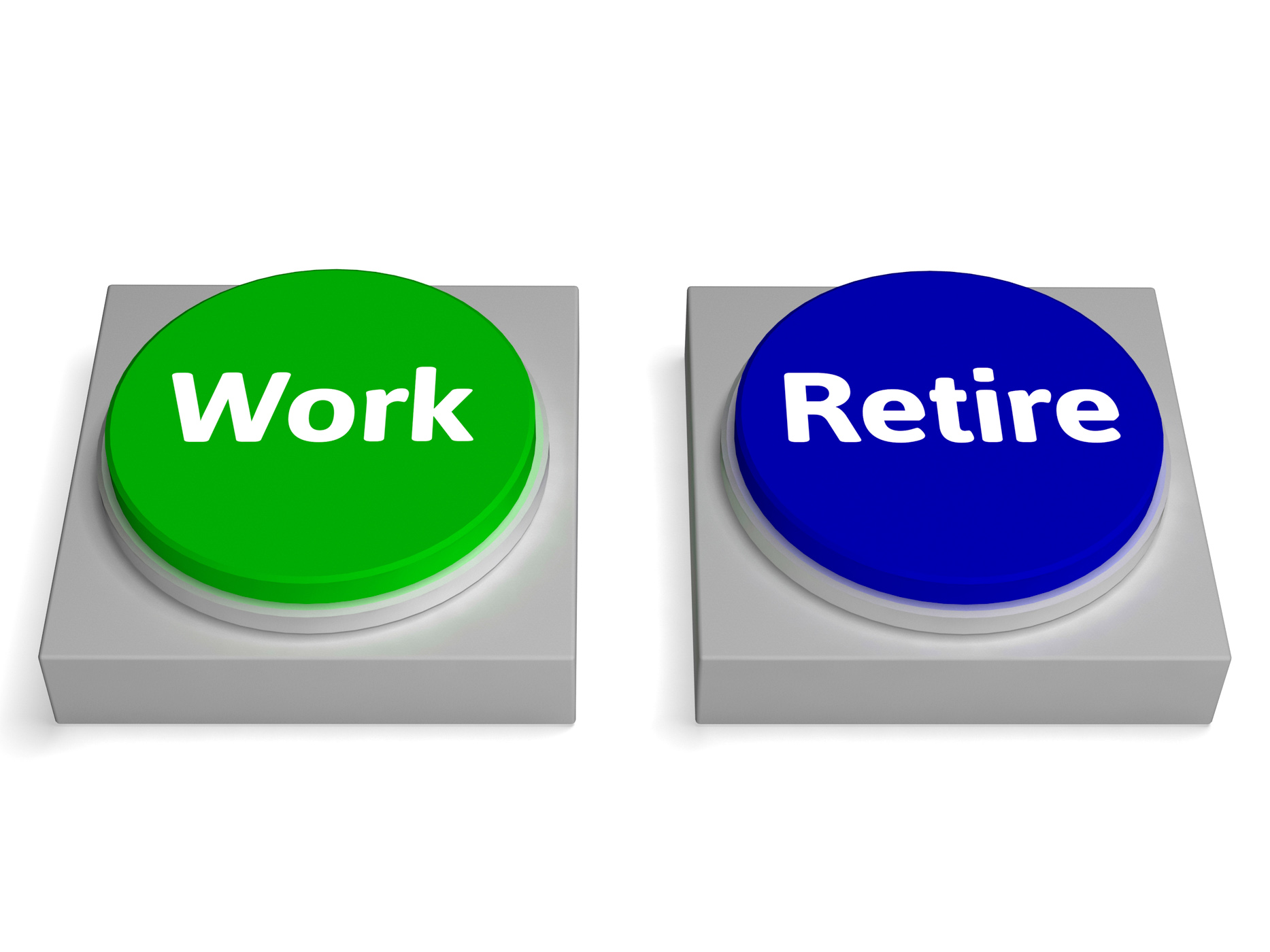 Work retire buttons shows working or retiring photo
