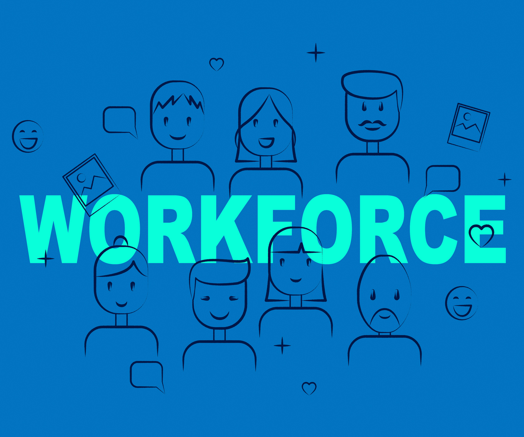 Workforce people shows human resources and manpower photo