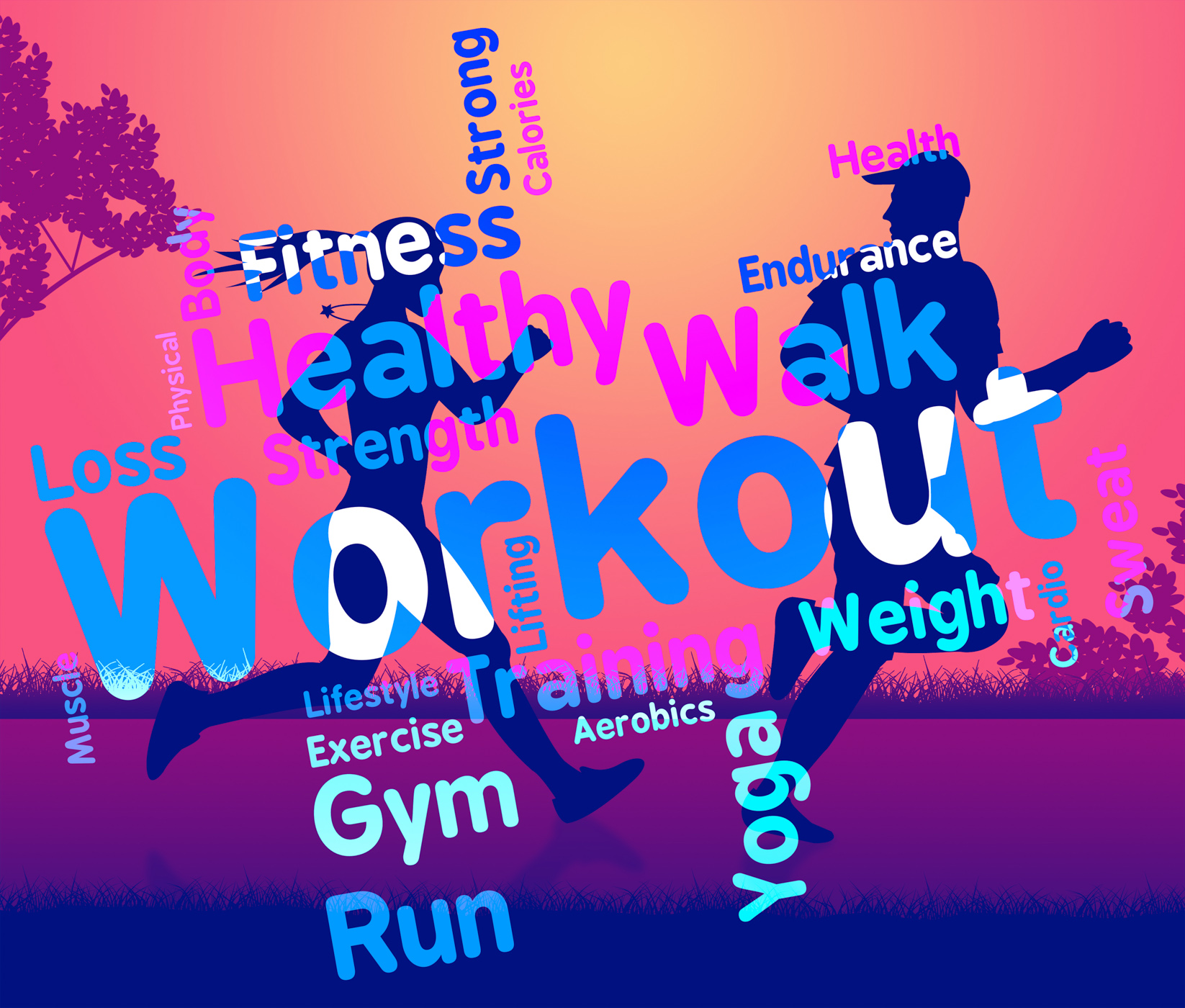 Workout words shows get fit and exercising photo
