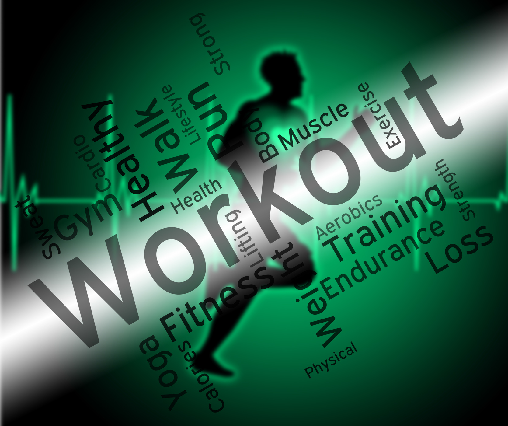 Workout words shows physical activity and athletic photo