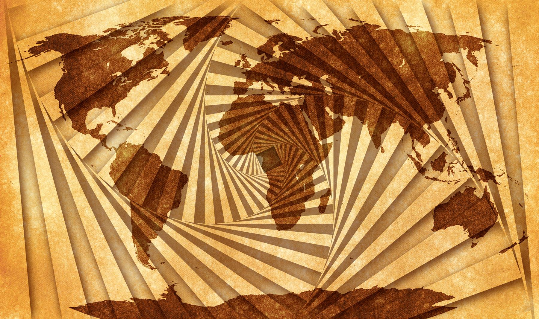 World grunge map - spiral tunnel photo
