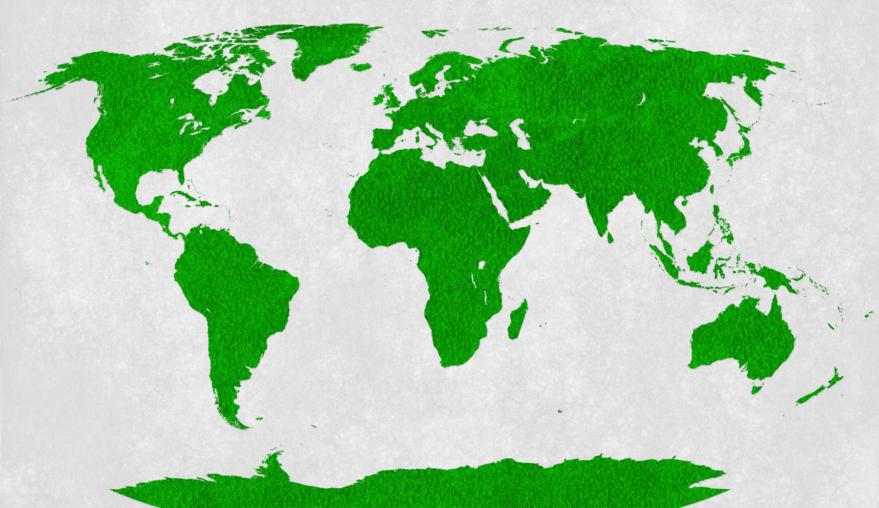 World map - green velvet photo