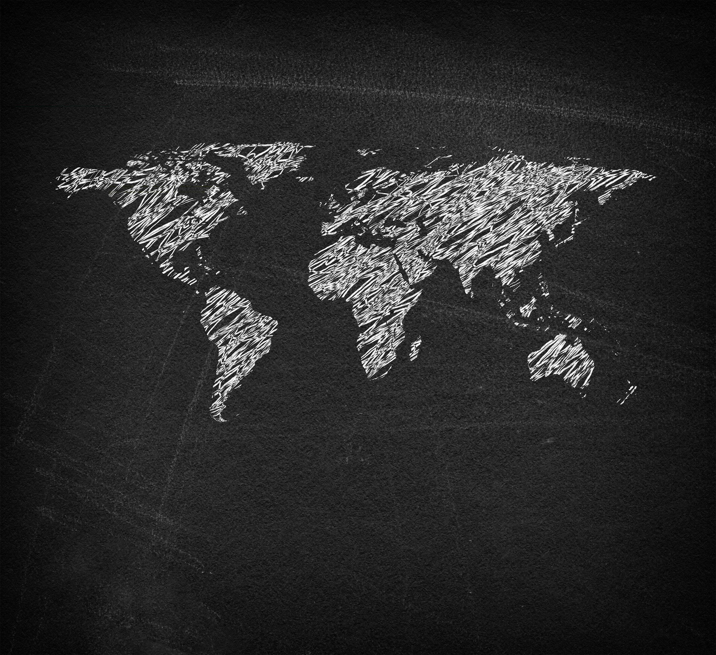 World map on blackboard - sketchy looks photo