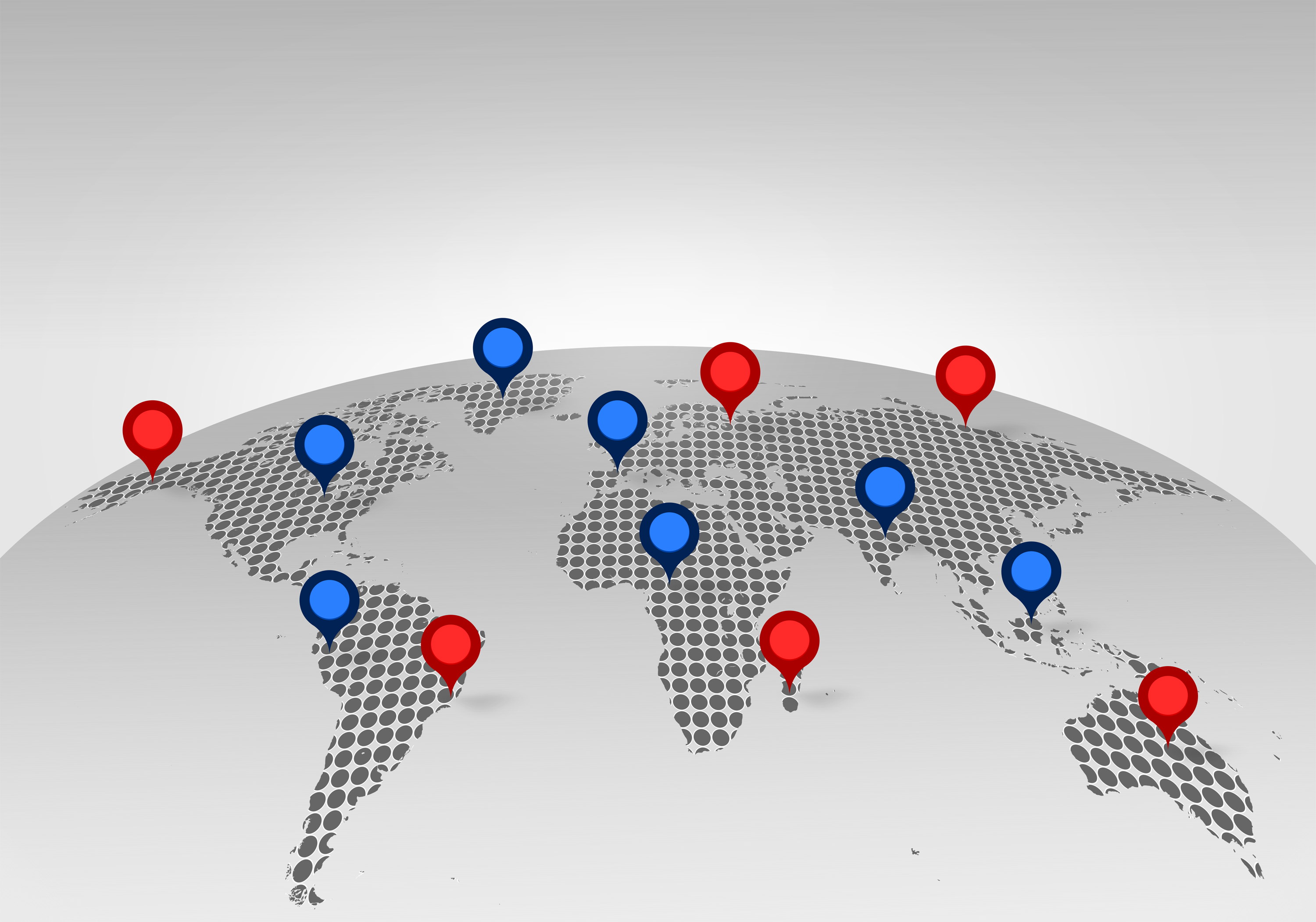 World Map with Place Markers - Globalization Concept, Abstract, Perspective, Red, Pushpin, HQ Photo