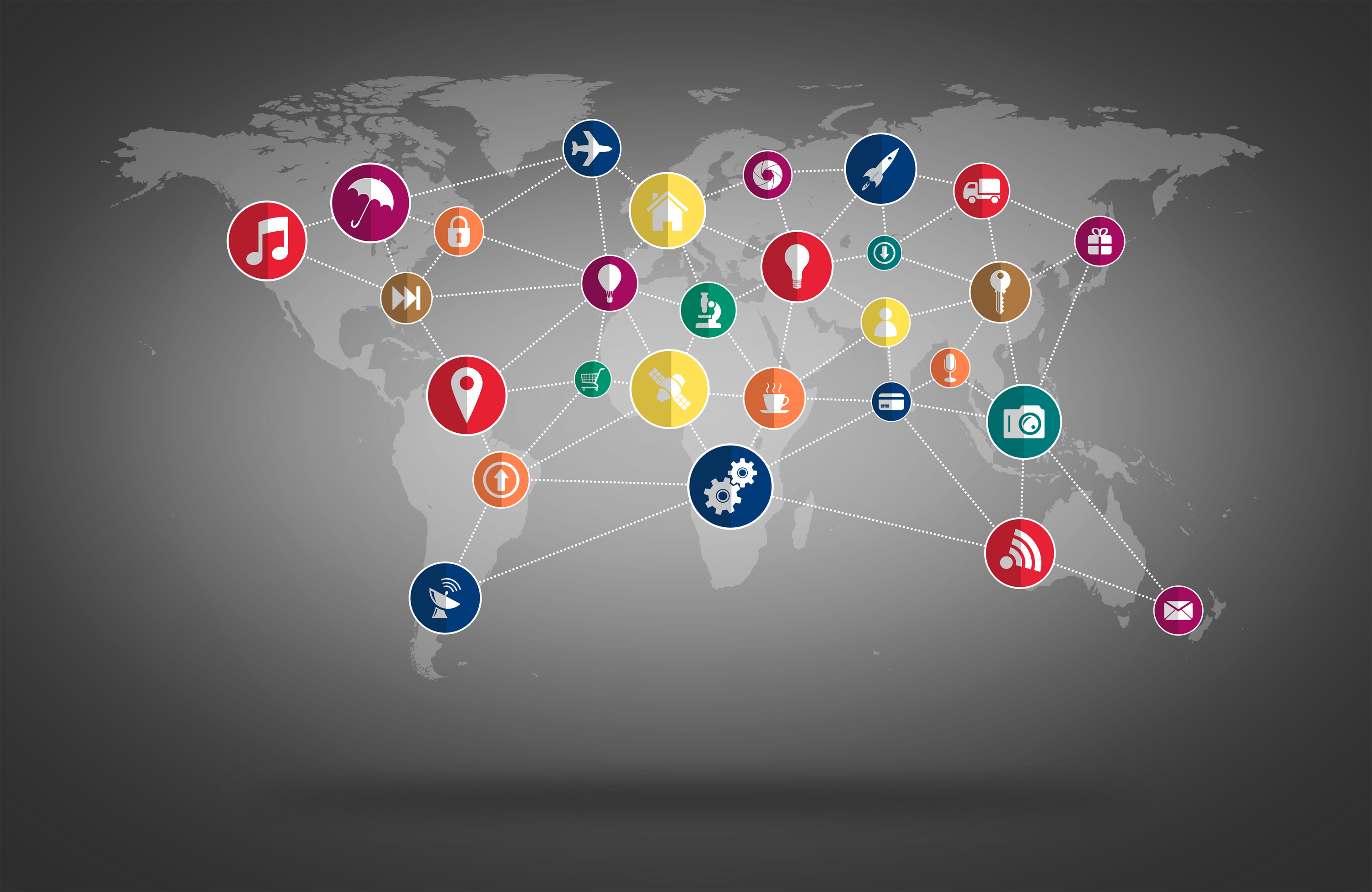 World map with technology icons mesh photo