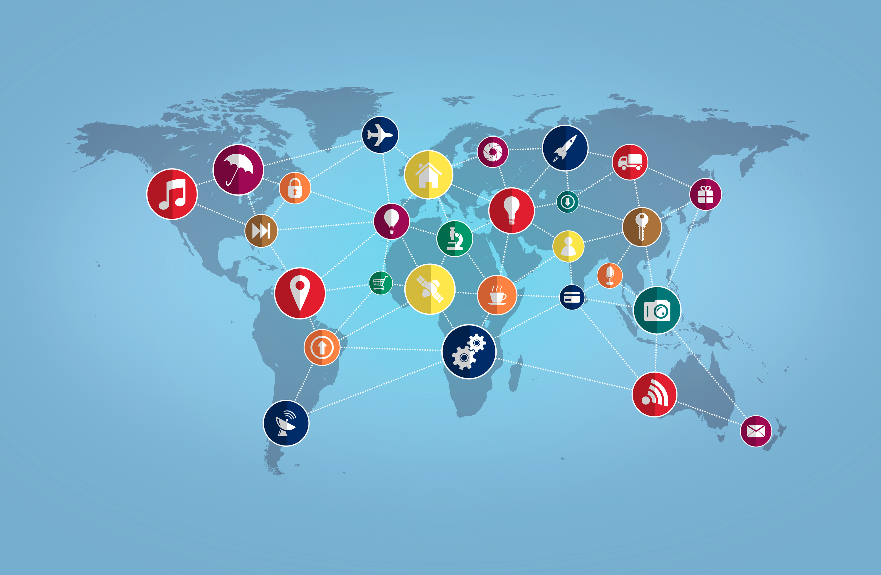 World map with technology icons photo