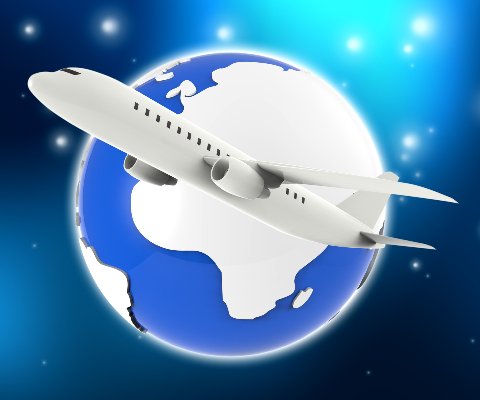World plane represents travel guide and air photo