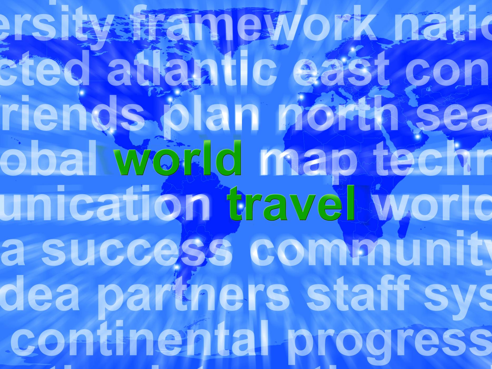World travel words on map background showing international traveling photo