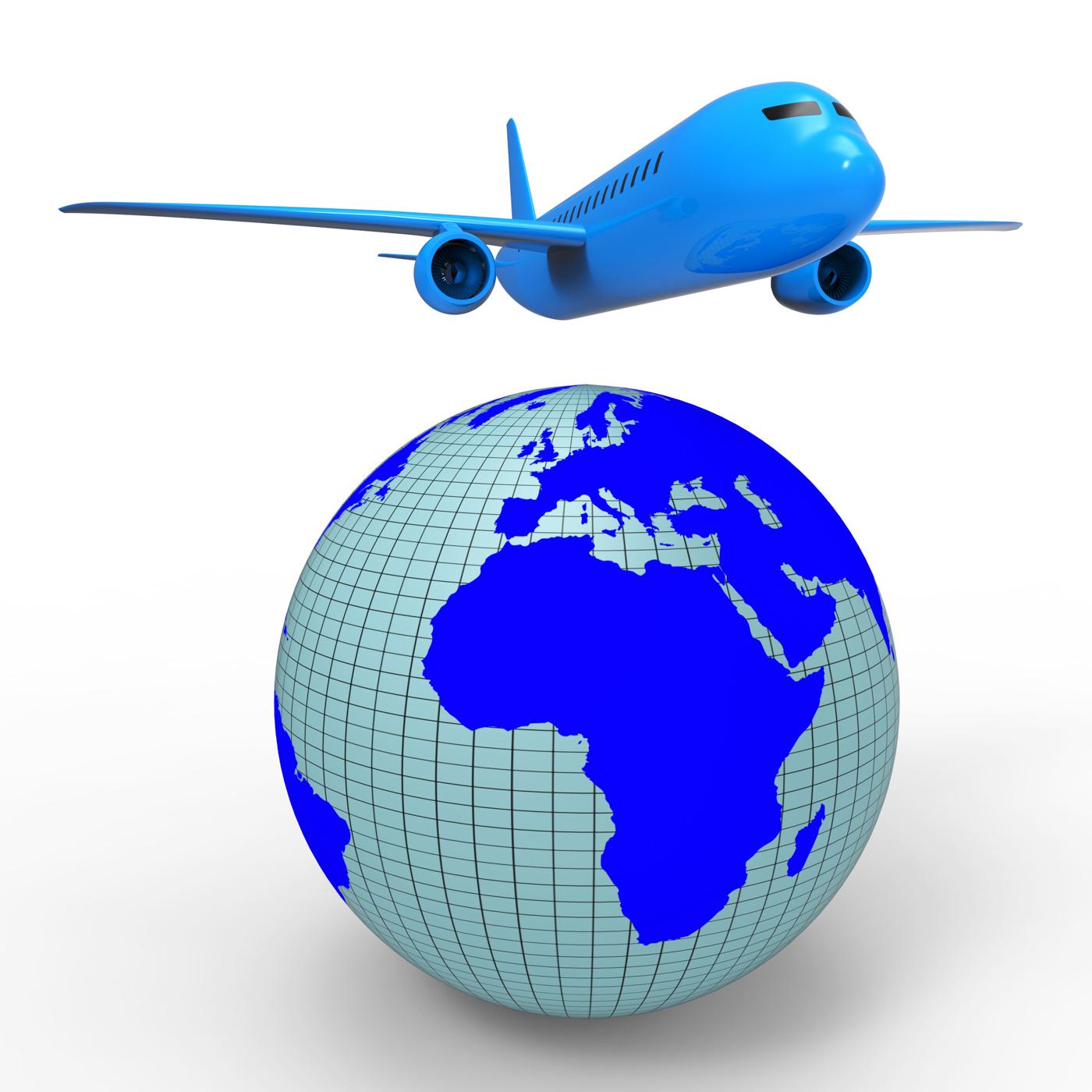 Worldwide travel shows aeroplane jet and planet photo