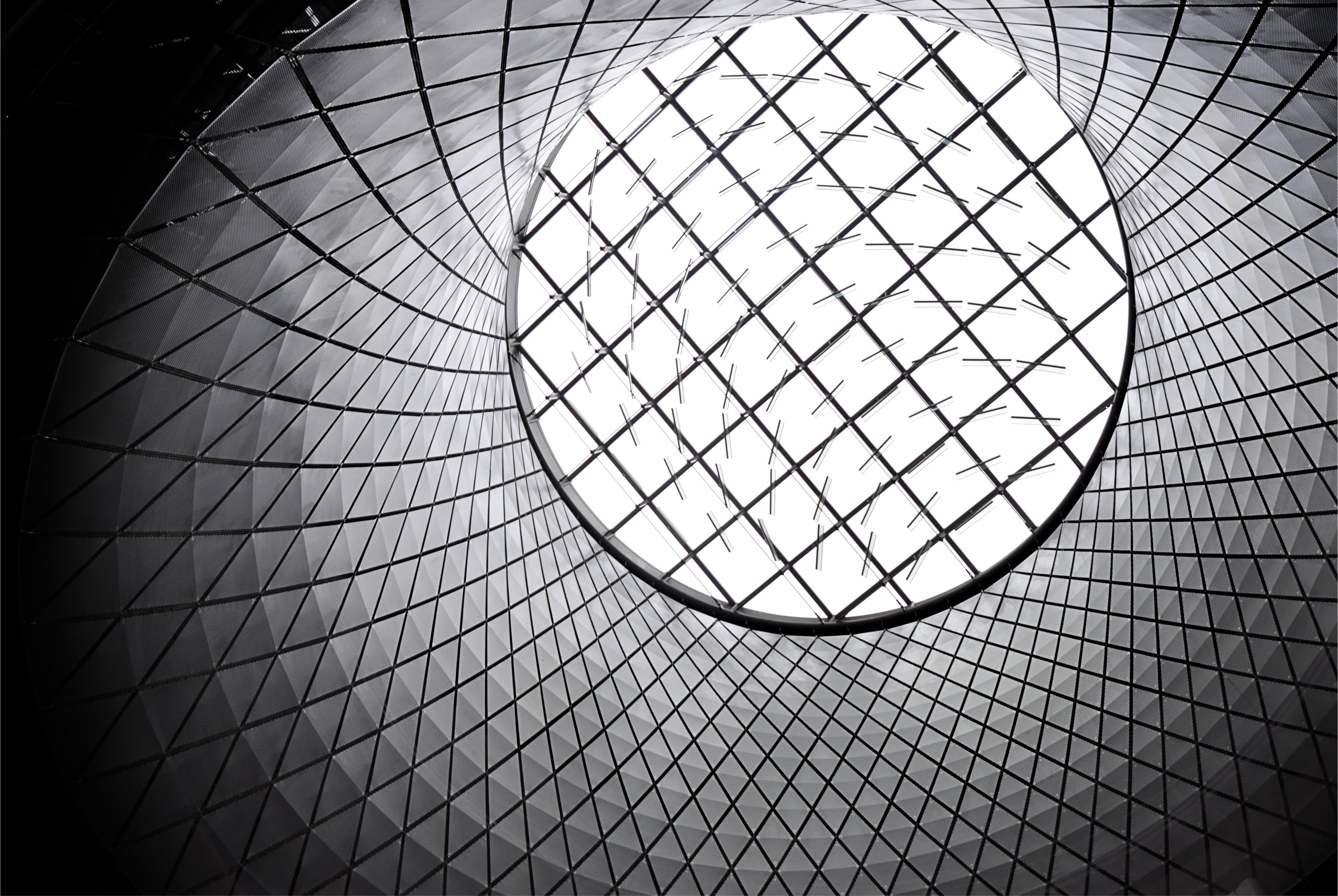 Worm's Eye of White and Black Inside Basket, Aluminium, Modern, Urban, Structure, HQ Photo
