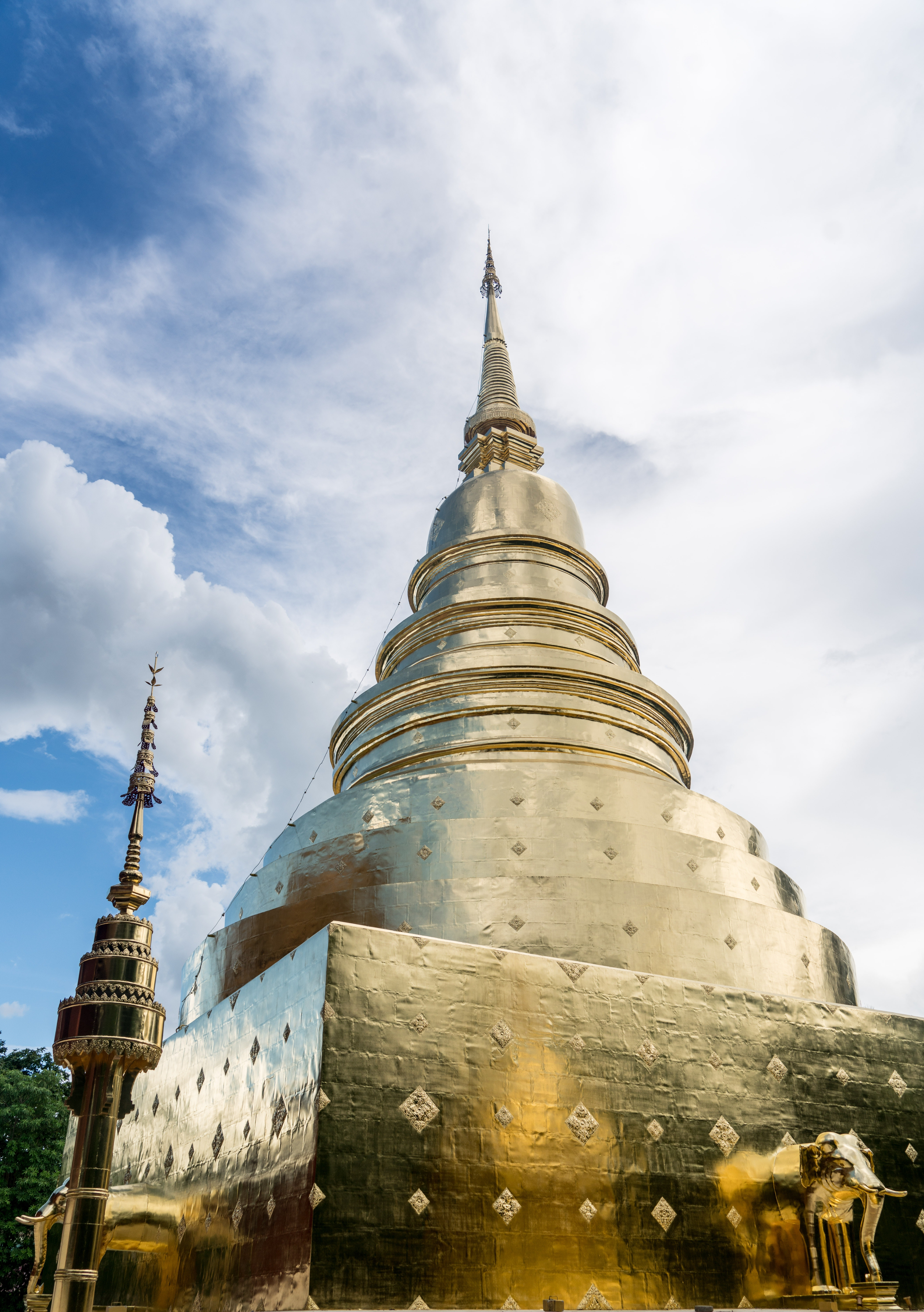 Worm's Eye View of Gold Tower Under Cloudy Sky during Daytime, Ancient, Religion, Wat, Travel, HQ Photo