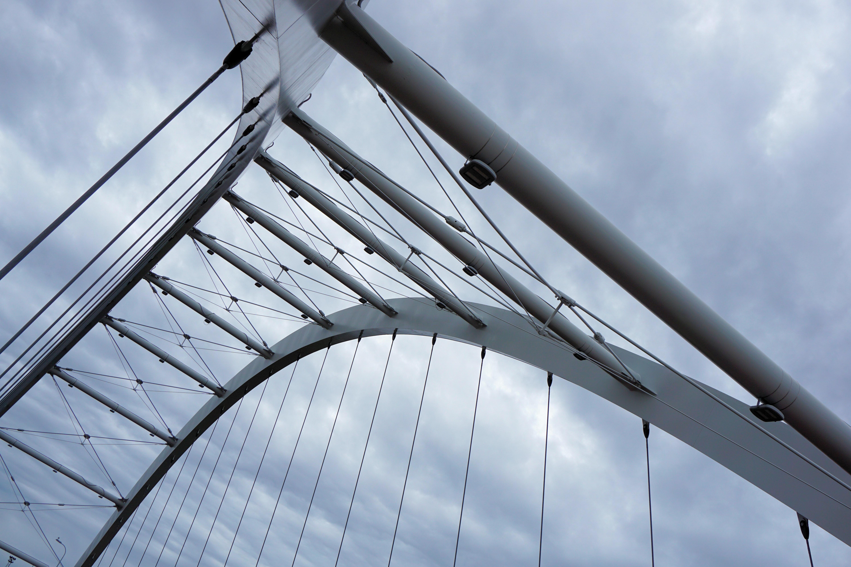 Worm's Eye View of Grey Steel Bridge, Iron, Heavy, Modern, Steel, HQ Photo