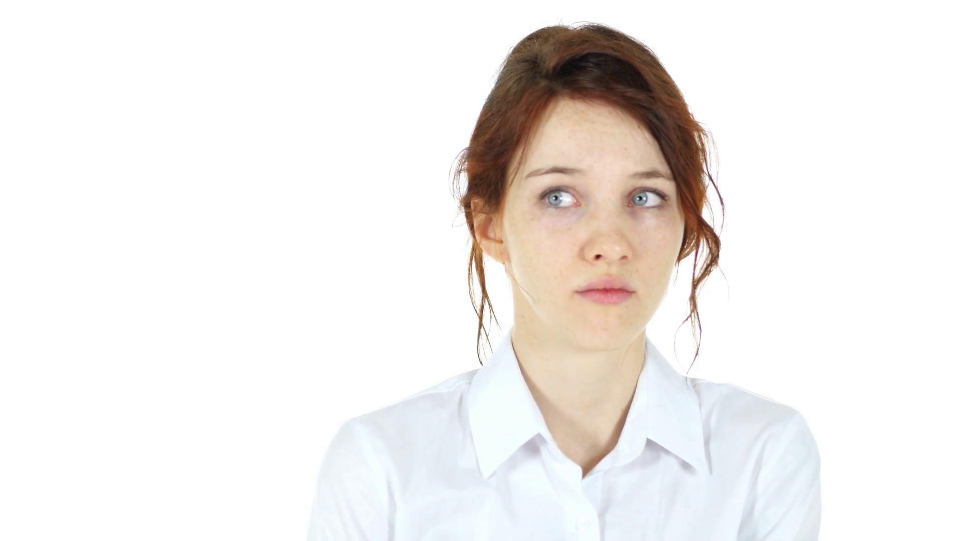 Afraid Worried Woman, White Background Stock Video Footage - Videoblocks