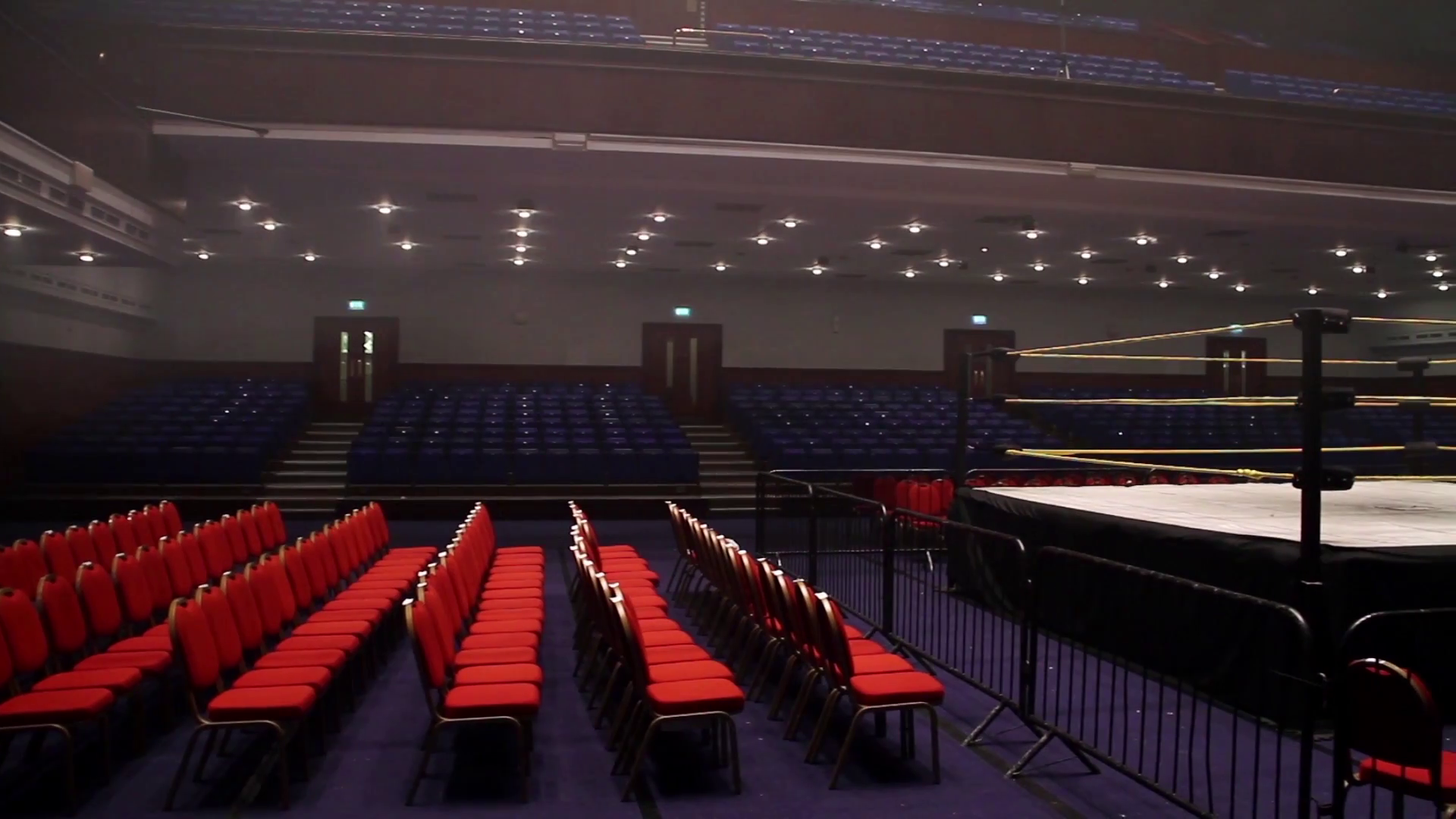 Empty Pro Wrestling Ring & Arena - Panning Show Stock Video Footage ...