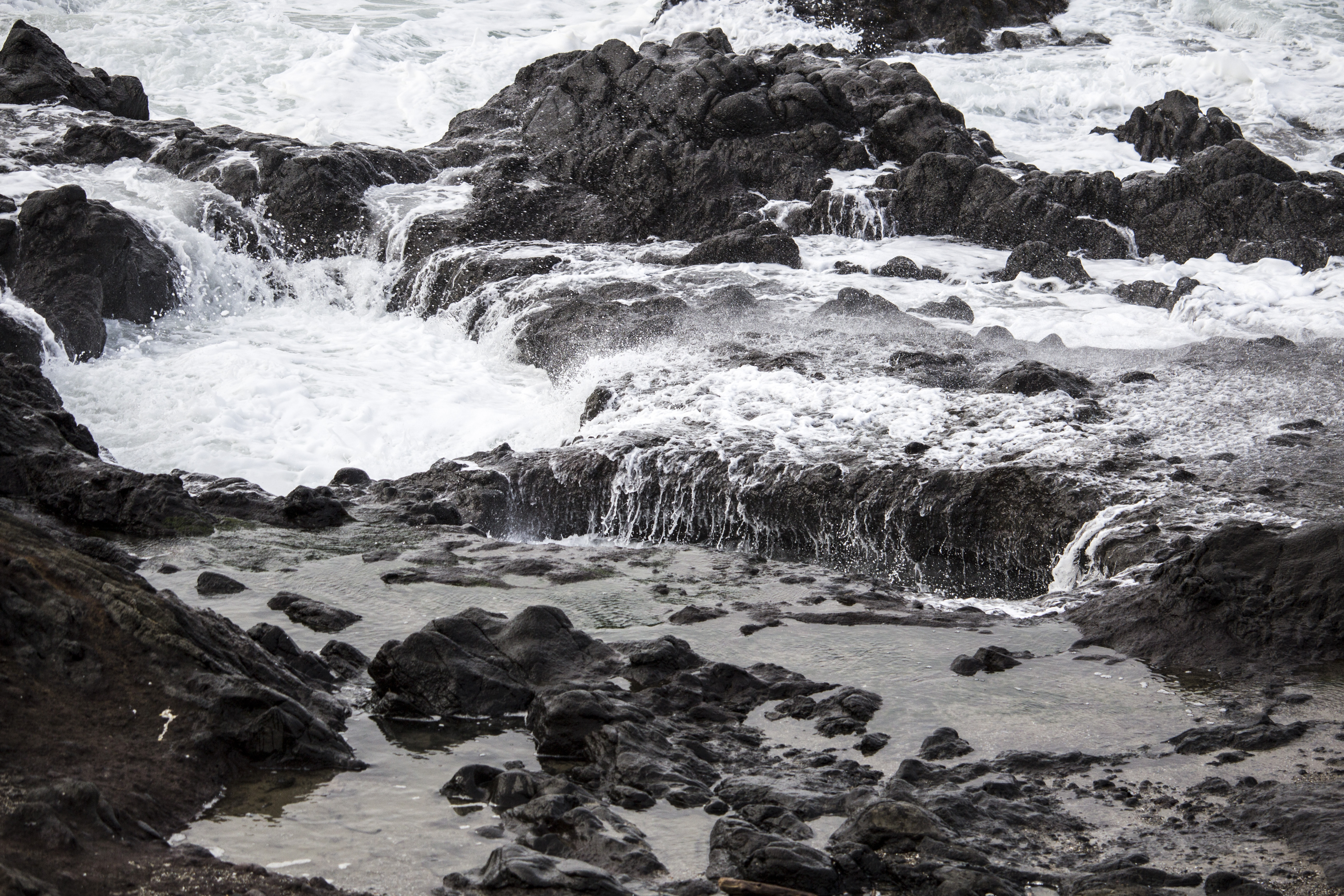 Yachats State Park, Oregon in winter, Storm, Sea, Water, Waves, HQ Photo