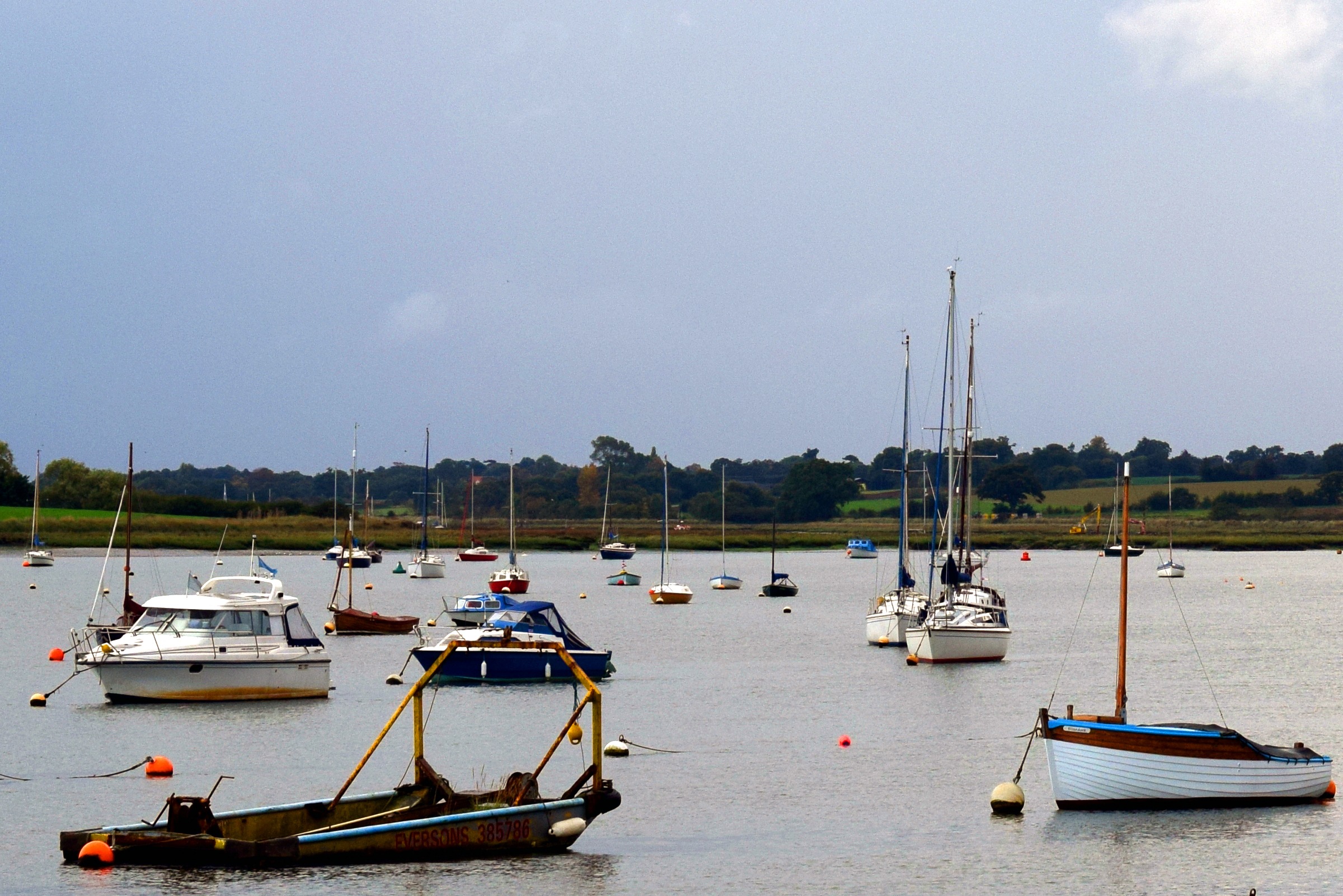 Yachts and boats on the river deben photo