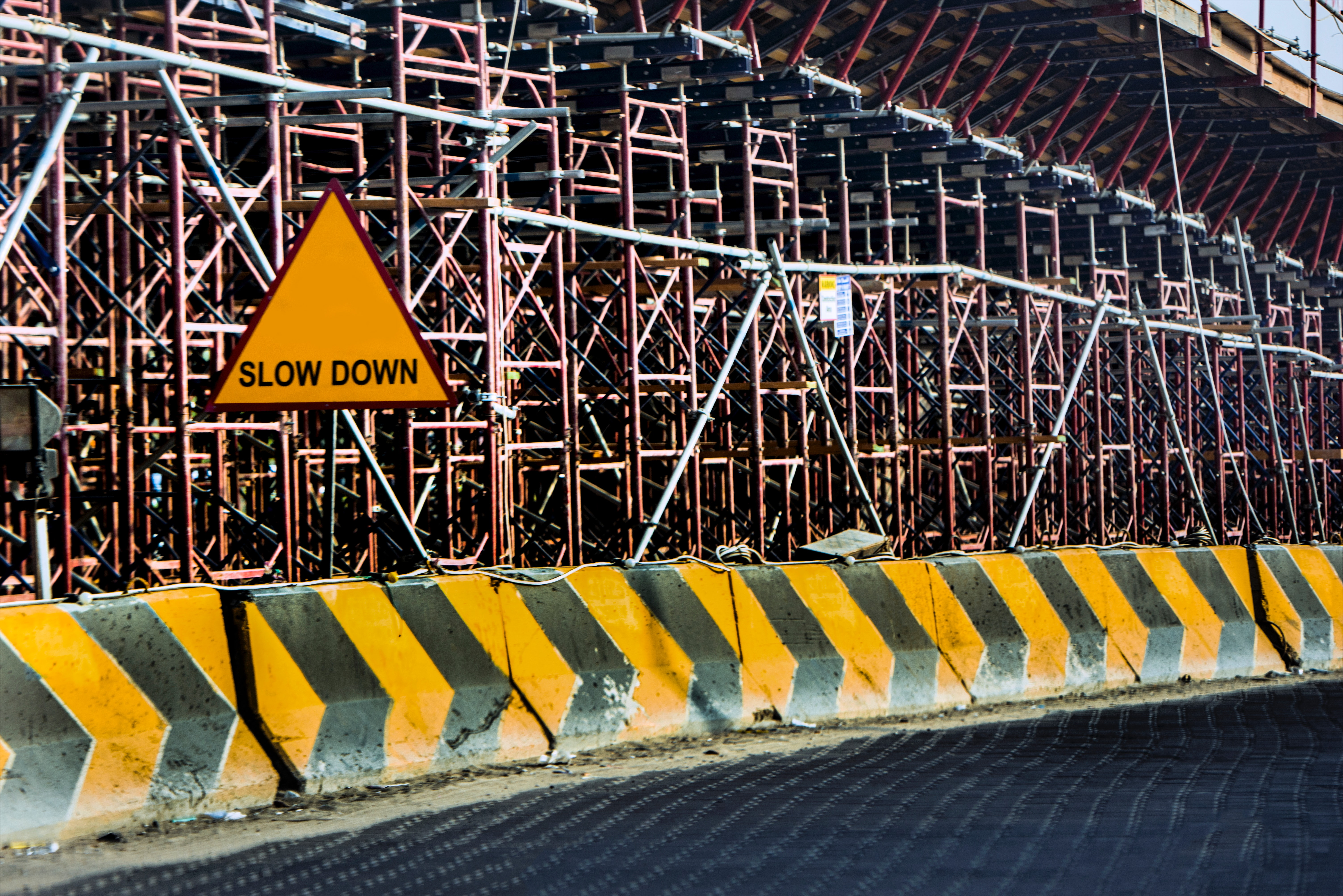 Yellow And Black Road Concrete Barrier, Barriers, Building, Construction, Danger, HQ Photo