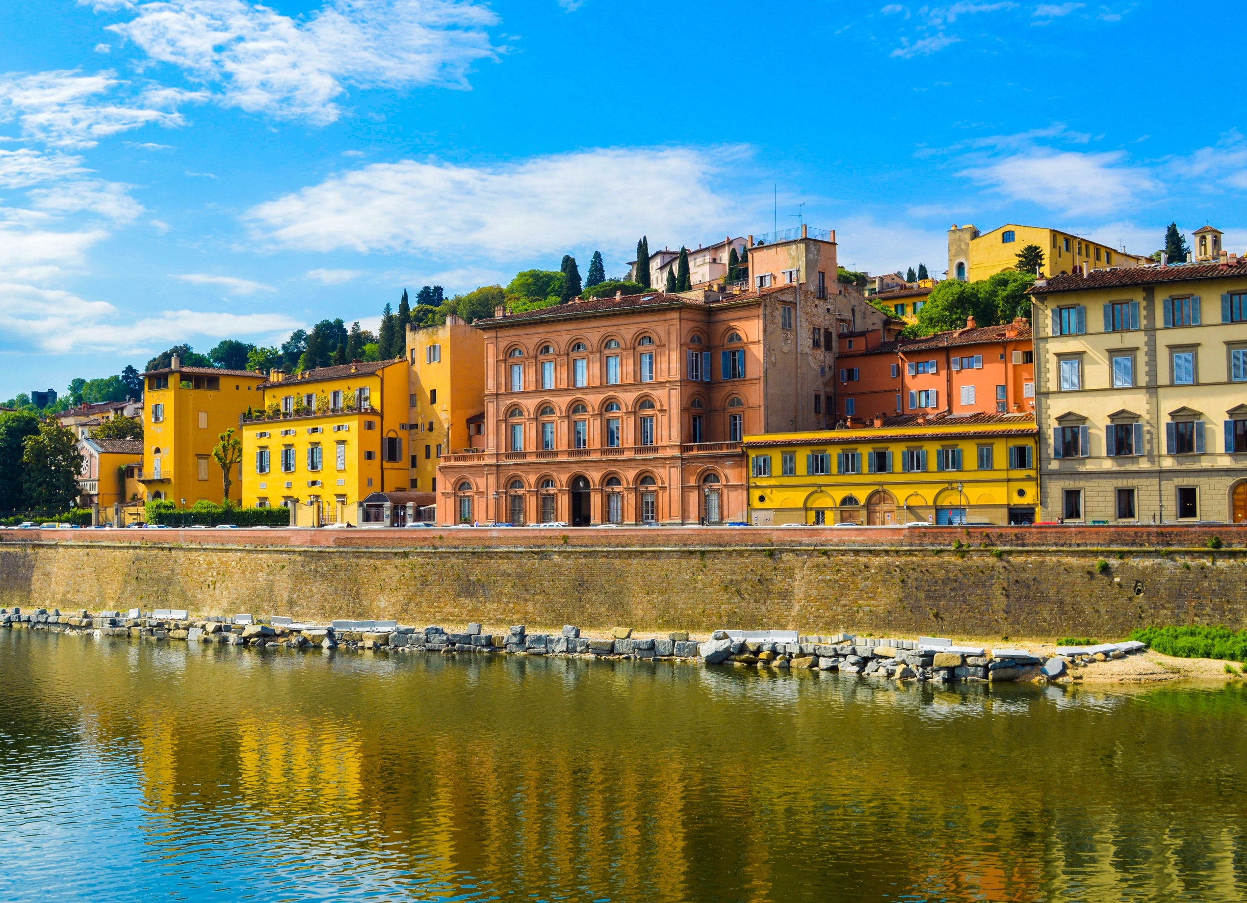 Yellow and Orange Buildings Near River, Architecture, Reflections, Urban, Trees, HQ Photo