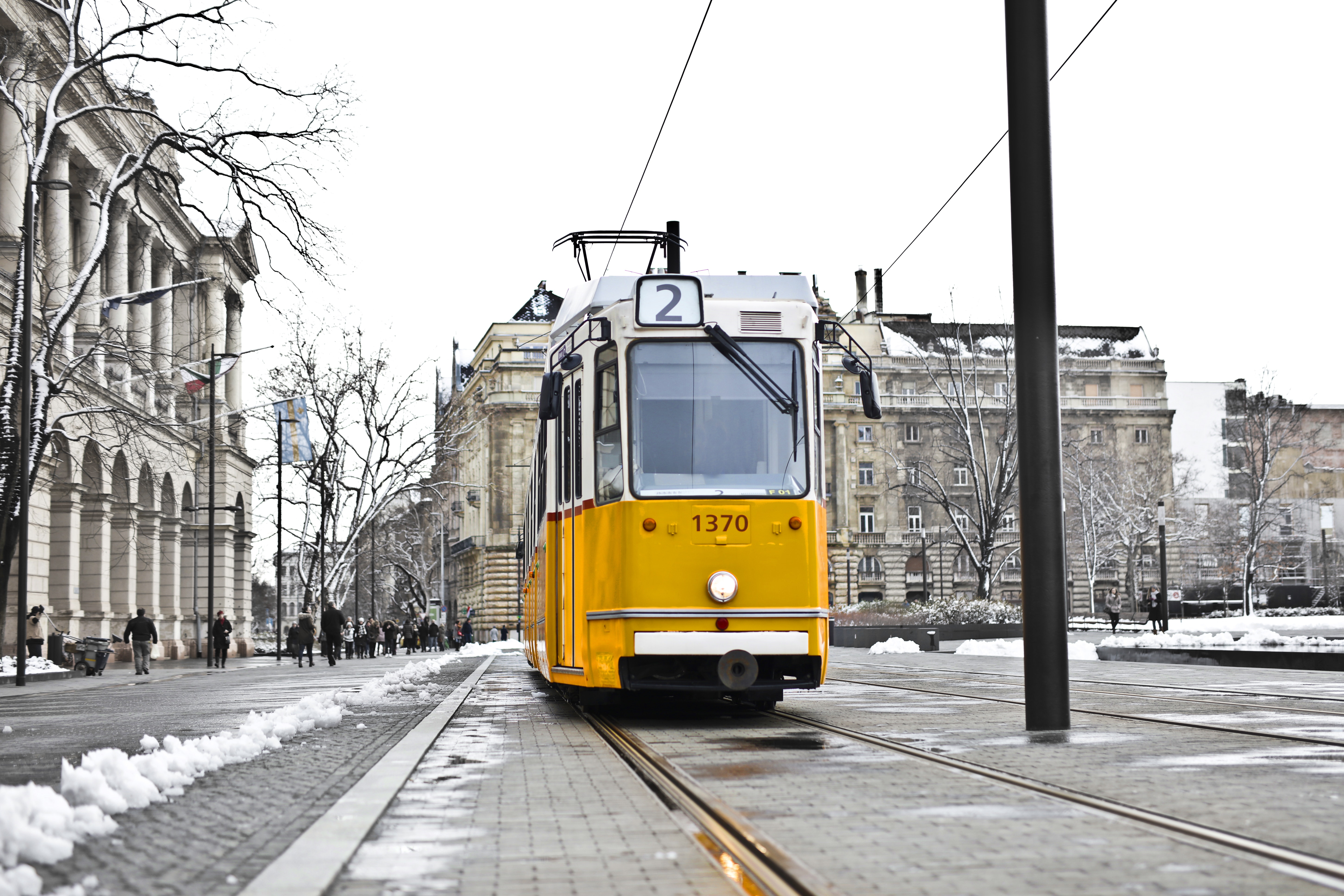 Yellow and White Cable Train, Street, Terminal, Steel, Snow, HQ Photo